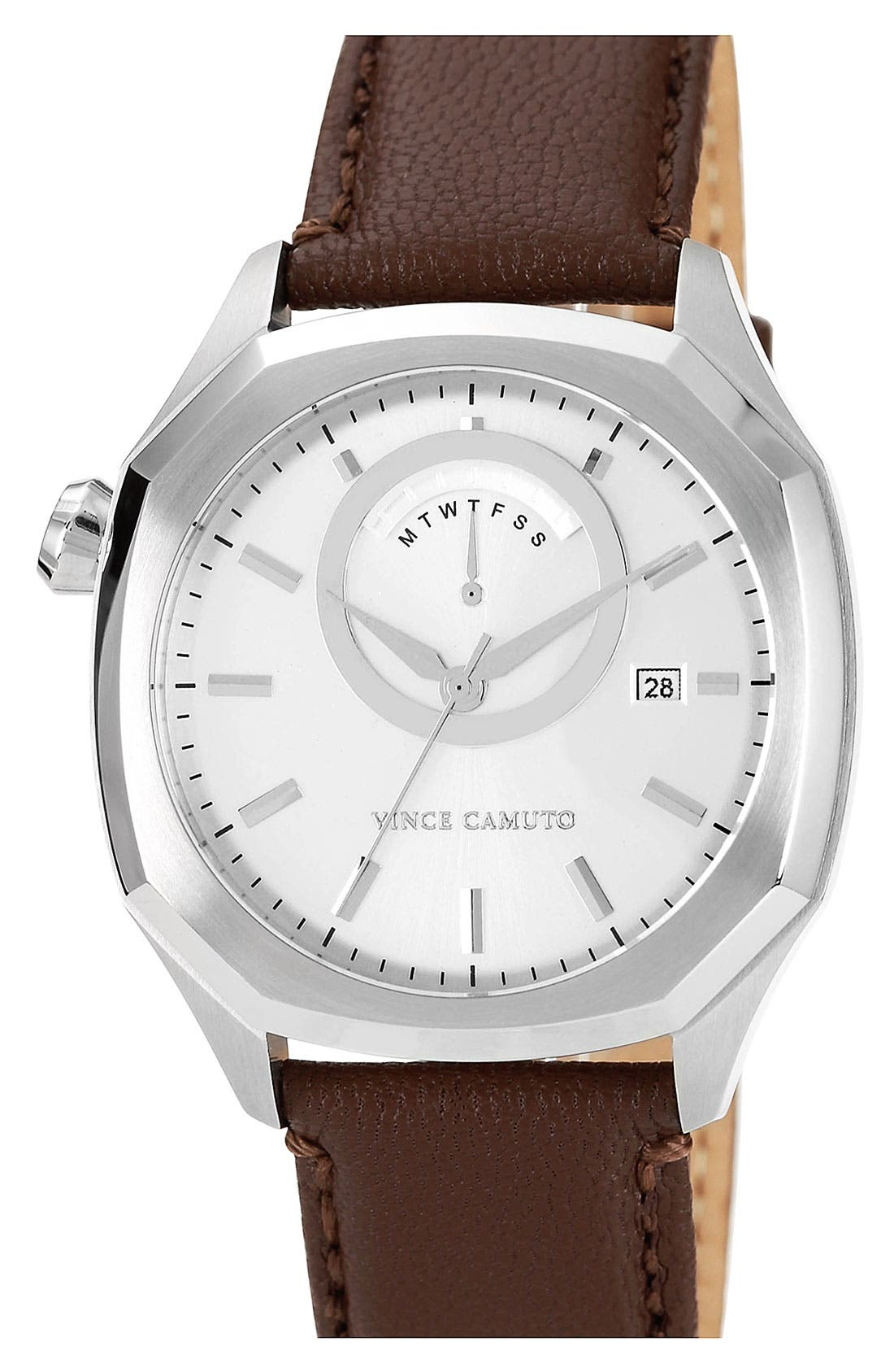 Alternate Image 1 Selected - Vince Camuto Octagonal Leather Strap Watch, 42mm