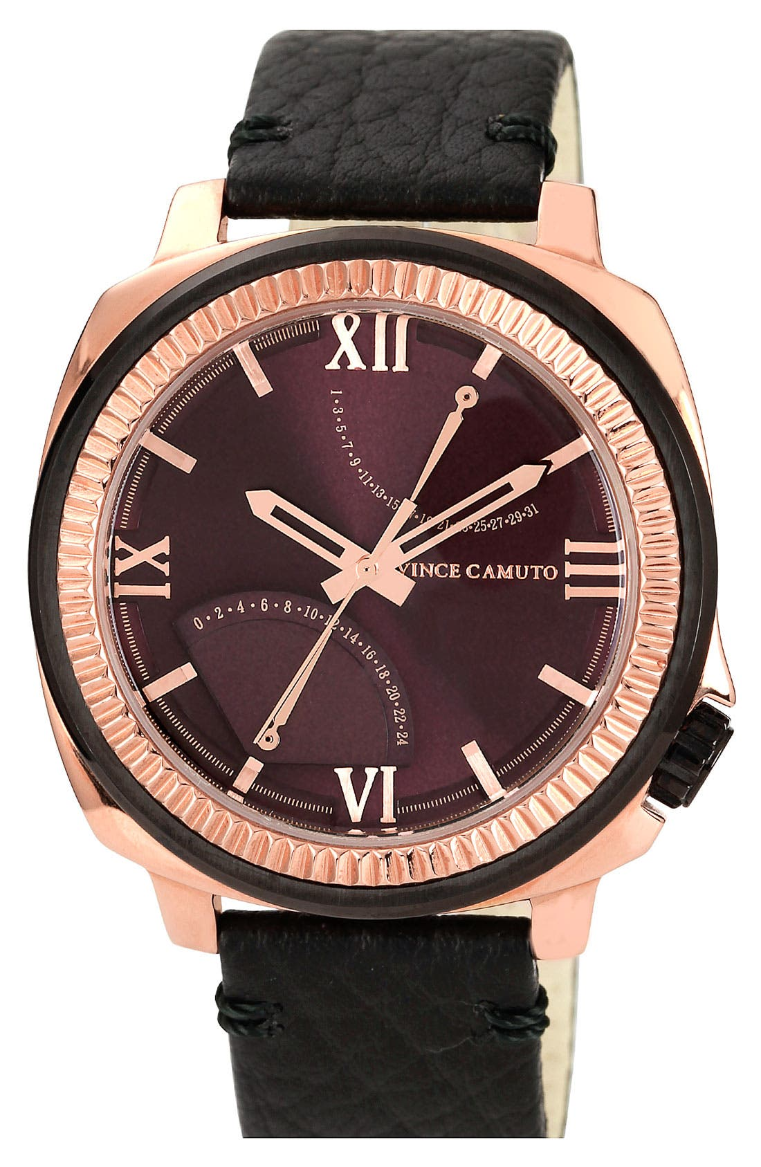 Main Image - Vince Camuto Flyback Dial Leather Strap Watch, 43mm
