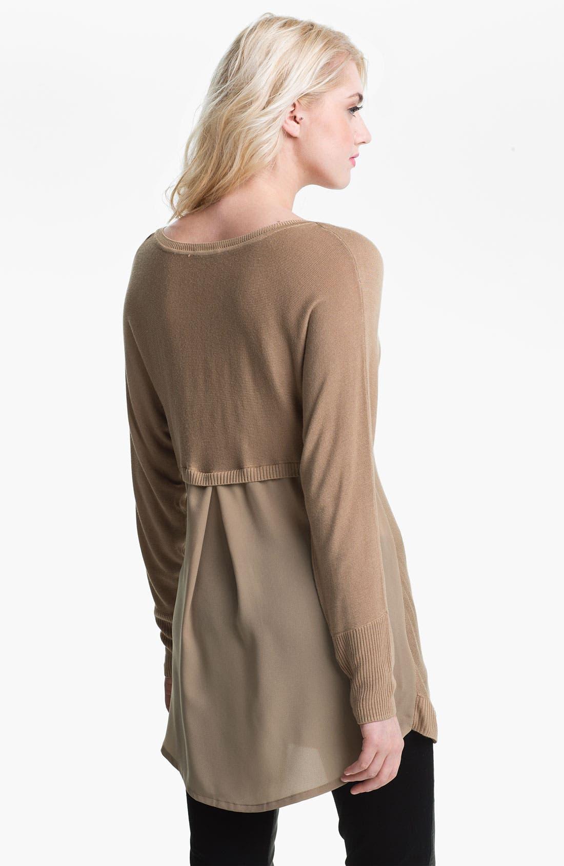 Alternate Image 2  - Max & Mia V-Neck Chiffon Back Sweater