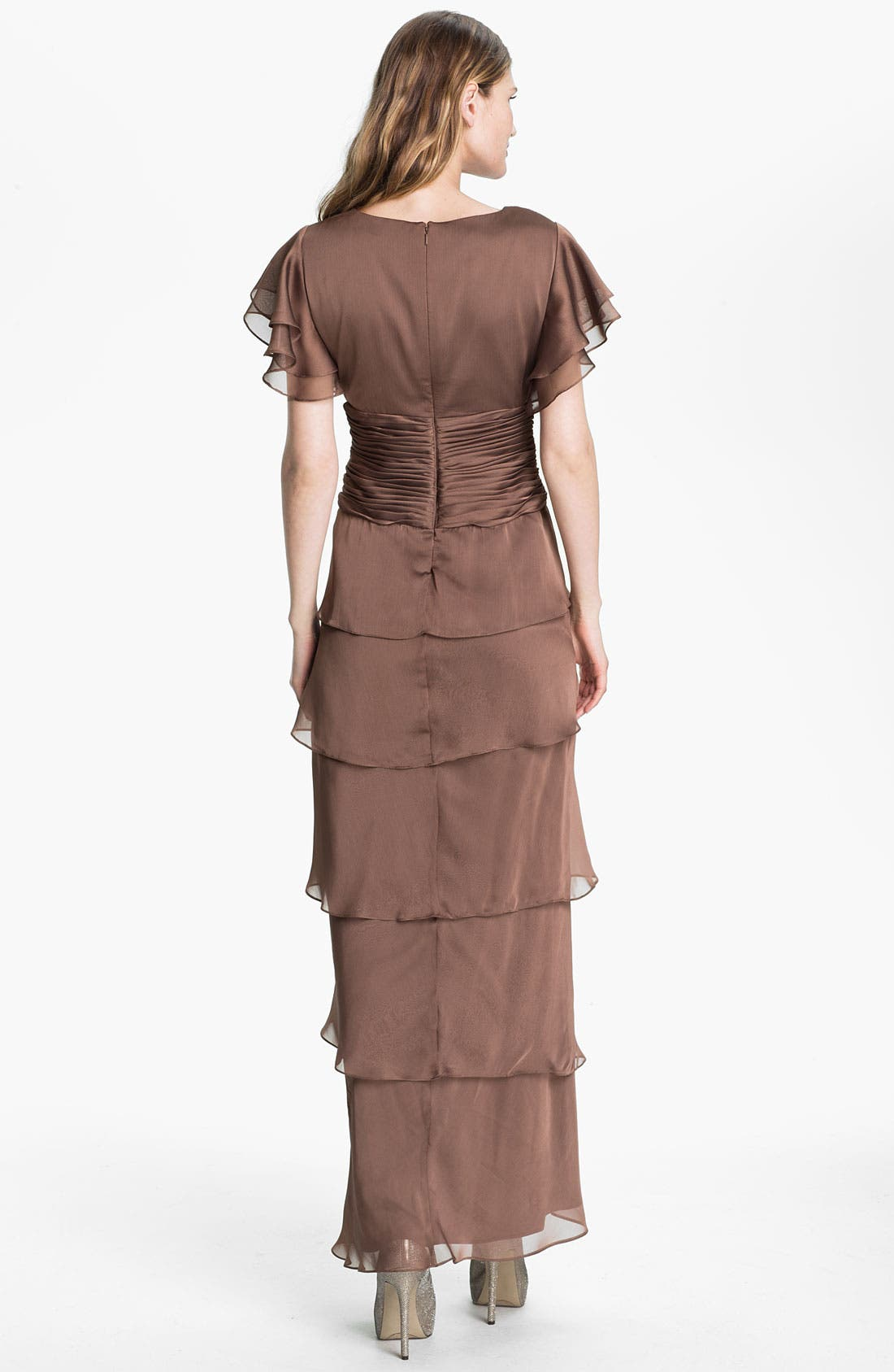 Alternate Image 2  - Adrianna Papell Flutter Sleeve Tiered Chiffon Gown