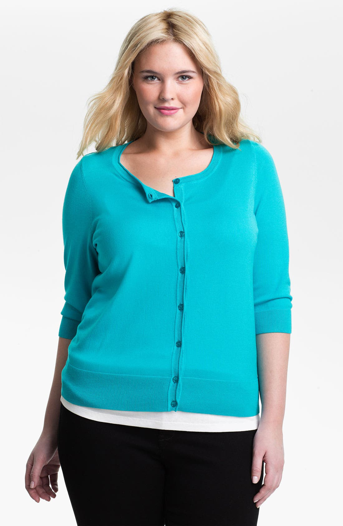Main Image - Sejour Three Quarter Sleeve Cardigan (Plus Size)