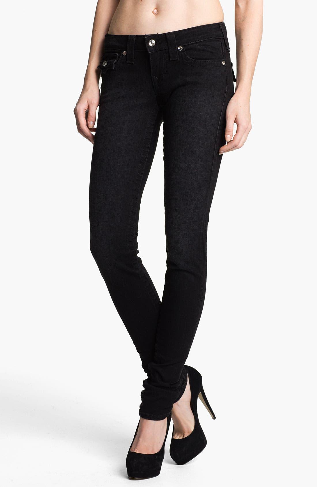 Alternate Image 1 Selected - True Religion Brand Jeans 'Julie' Crystal Button Skinny Jeans (Lonestar)