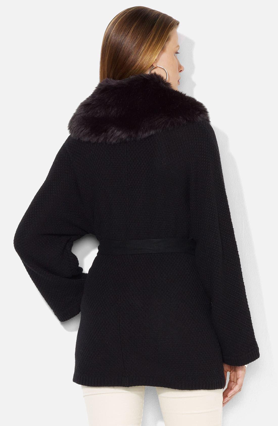 Alternate Image 2  - Lauren Ralph Lauren Faux Fur Trim Wrap Cardigan