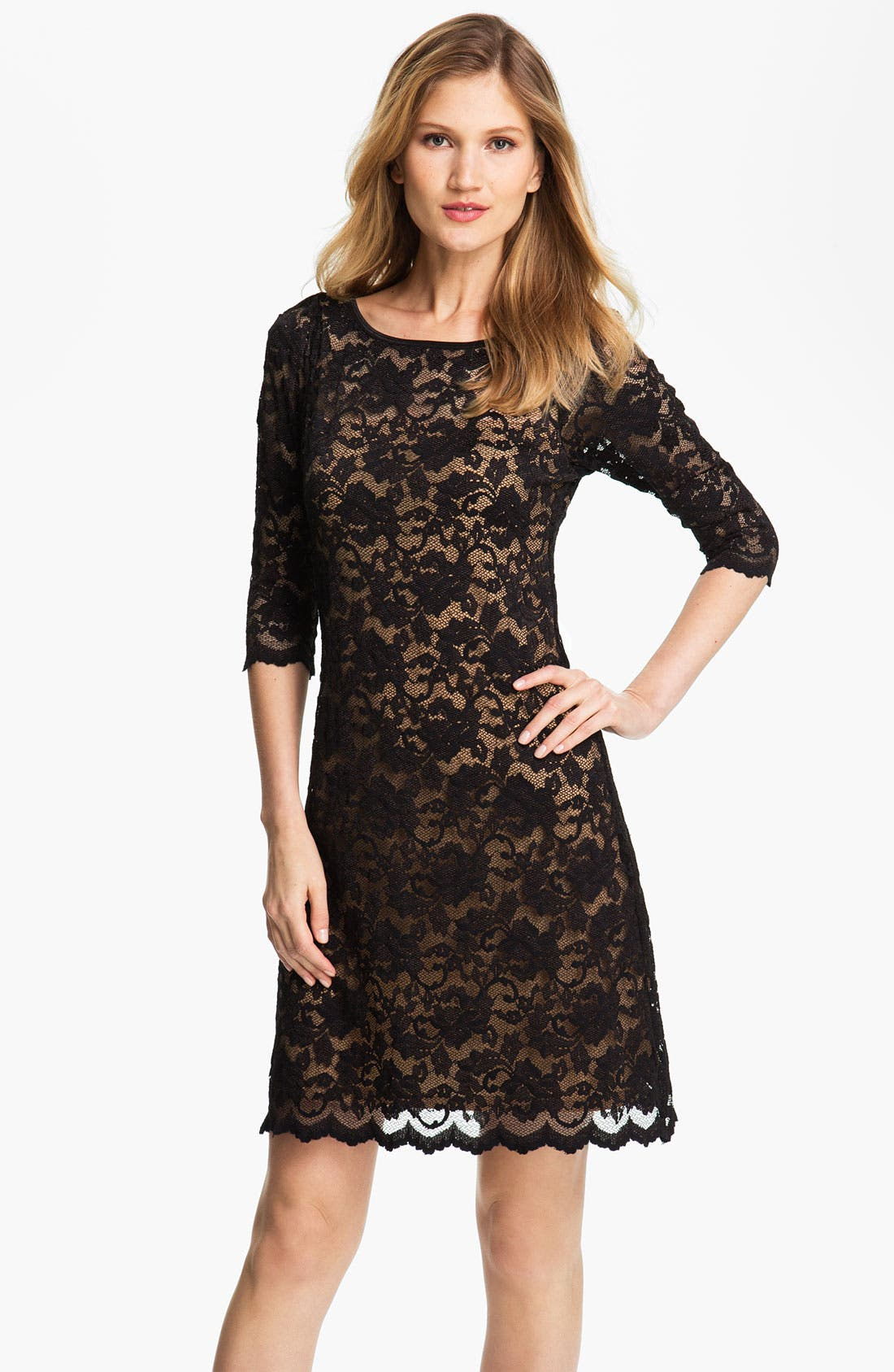 Main Image - Karen Kane Scallop Hem Lace Dress