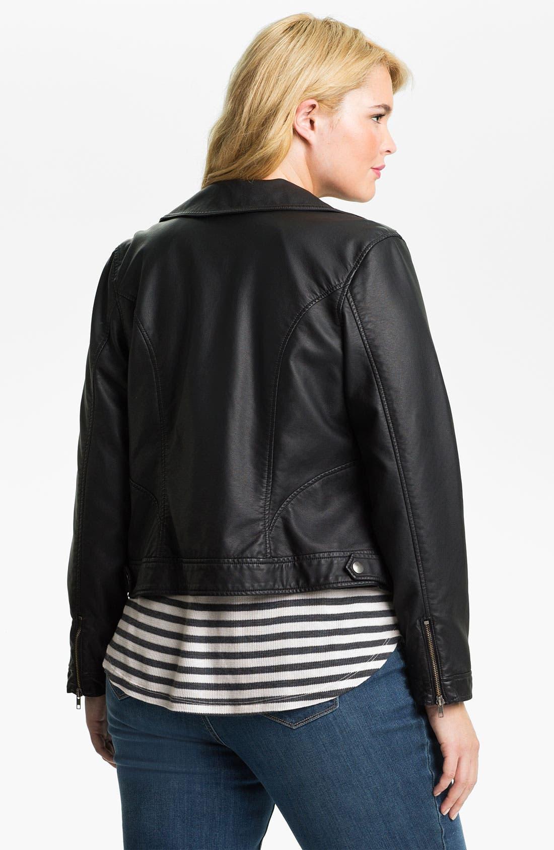 Alternate Image 2  - Mynt 1792 'Morris' Faux Leather Moto Jacket (Plus)