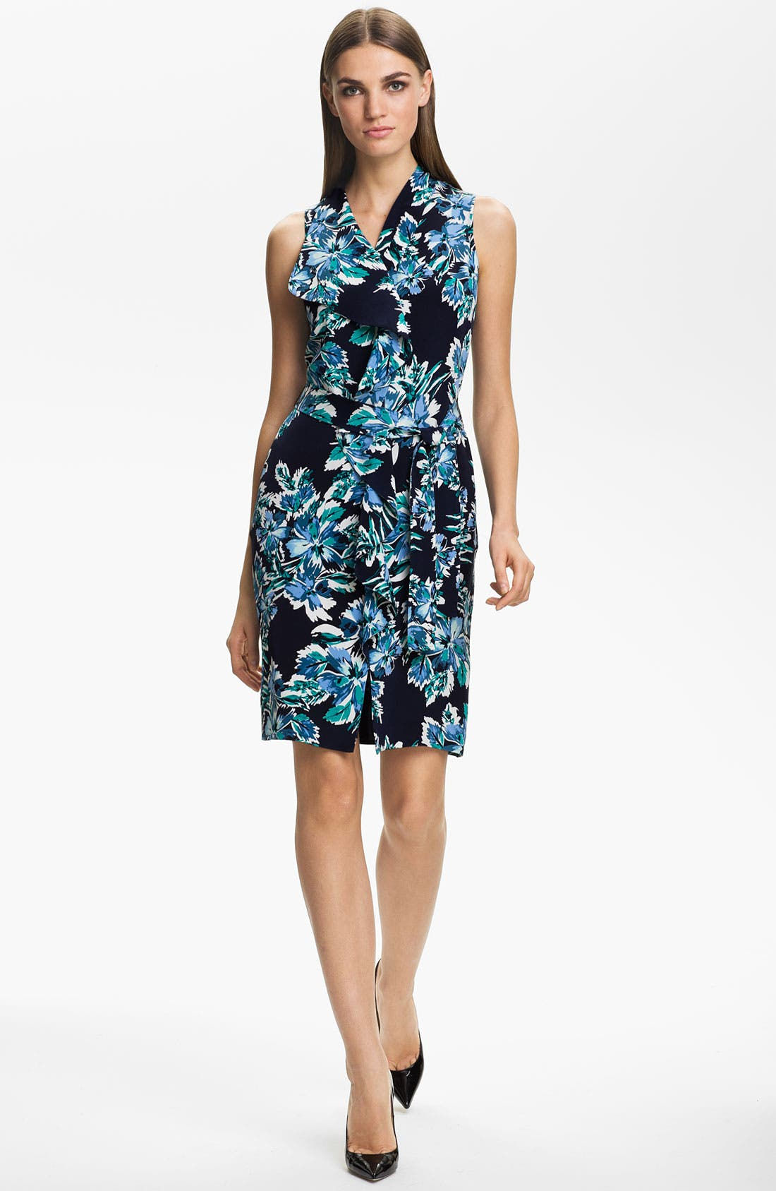 Alternate Image 1 Selected - St. John Collection Belted Hibiscus Print Silk Dress