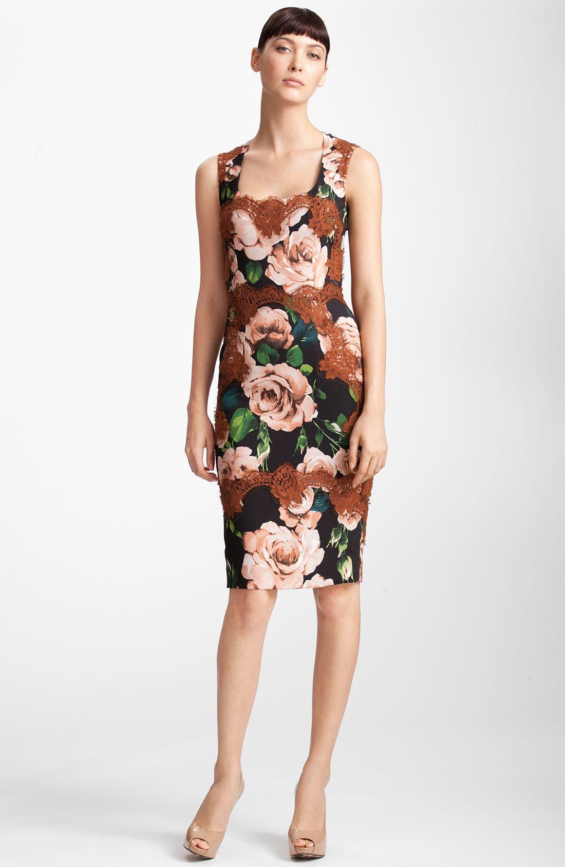 Alternate Image 1 Selected - Dolce&Gabbana Rose Print Stretch Cady Dress