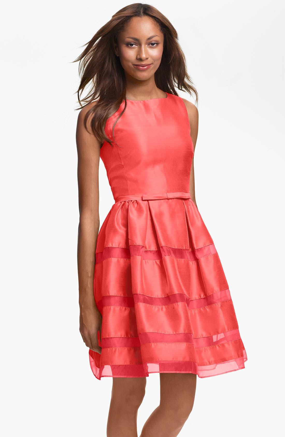 Main Image - Taylor Dresses Tonal Stripe Fit & Flare Dress
