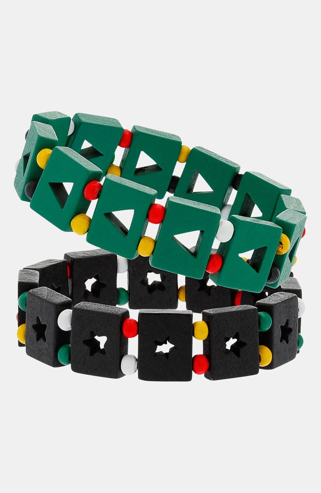 Main Image - Topman 'Star & Triangle' Cutout Stretch Bracelets (Set of 2)