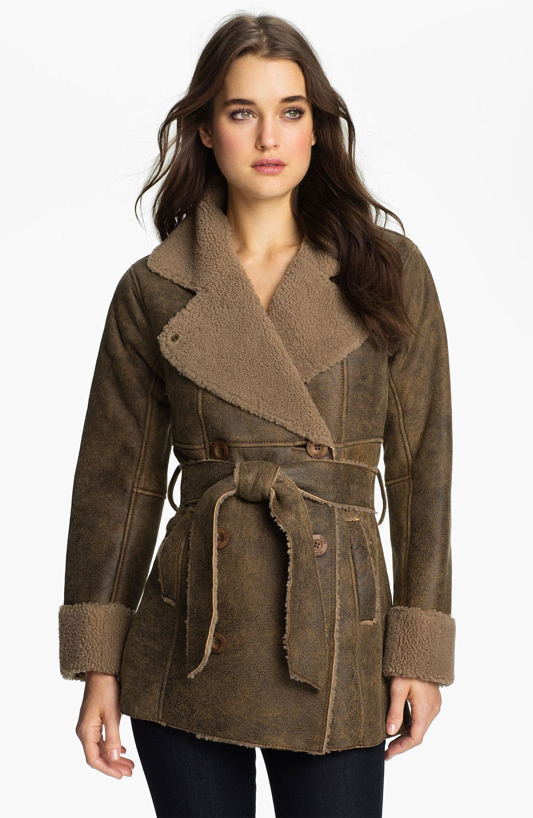 Alternate Image 1 Selected - UGG® Australia Double Breasted Shearling Coat (Online Exclusive)
