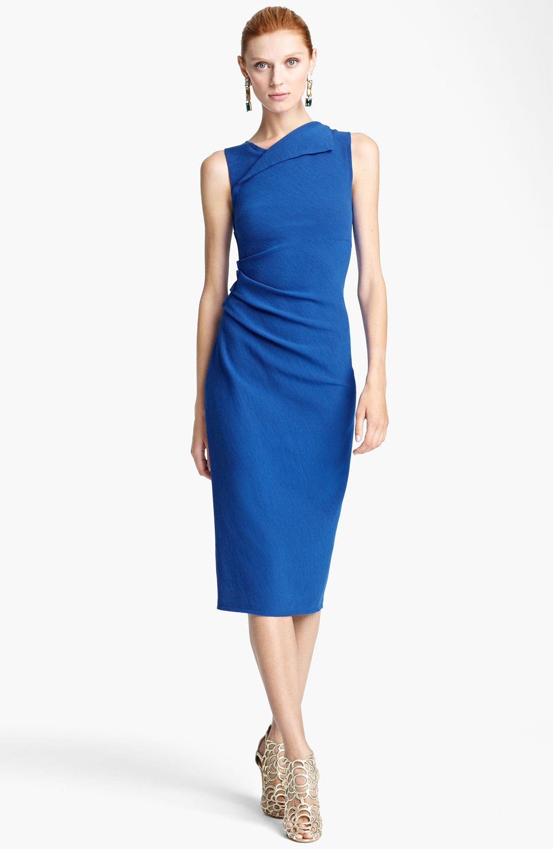 Main Image - Oscar de la Renta Ruched Wool Sheath Dress
