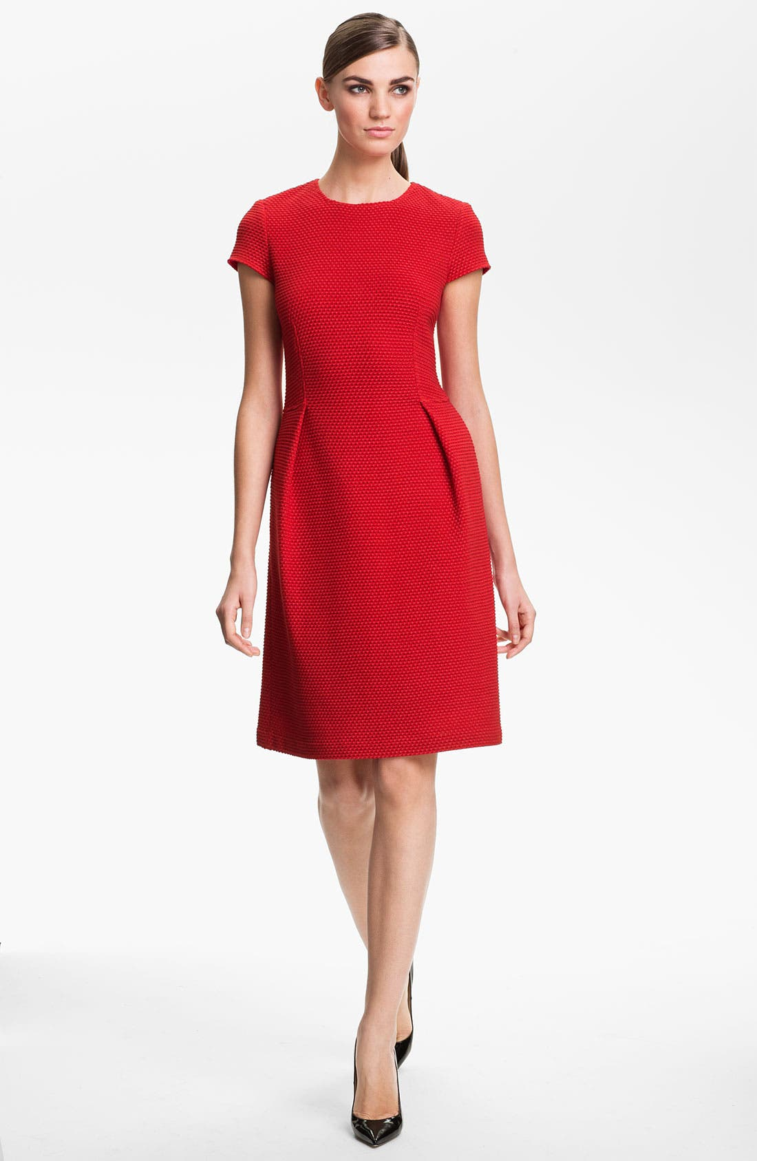 Main Image - St. John Collection Jewel Neck Punto Riso Dress