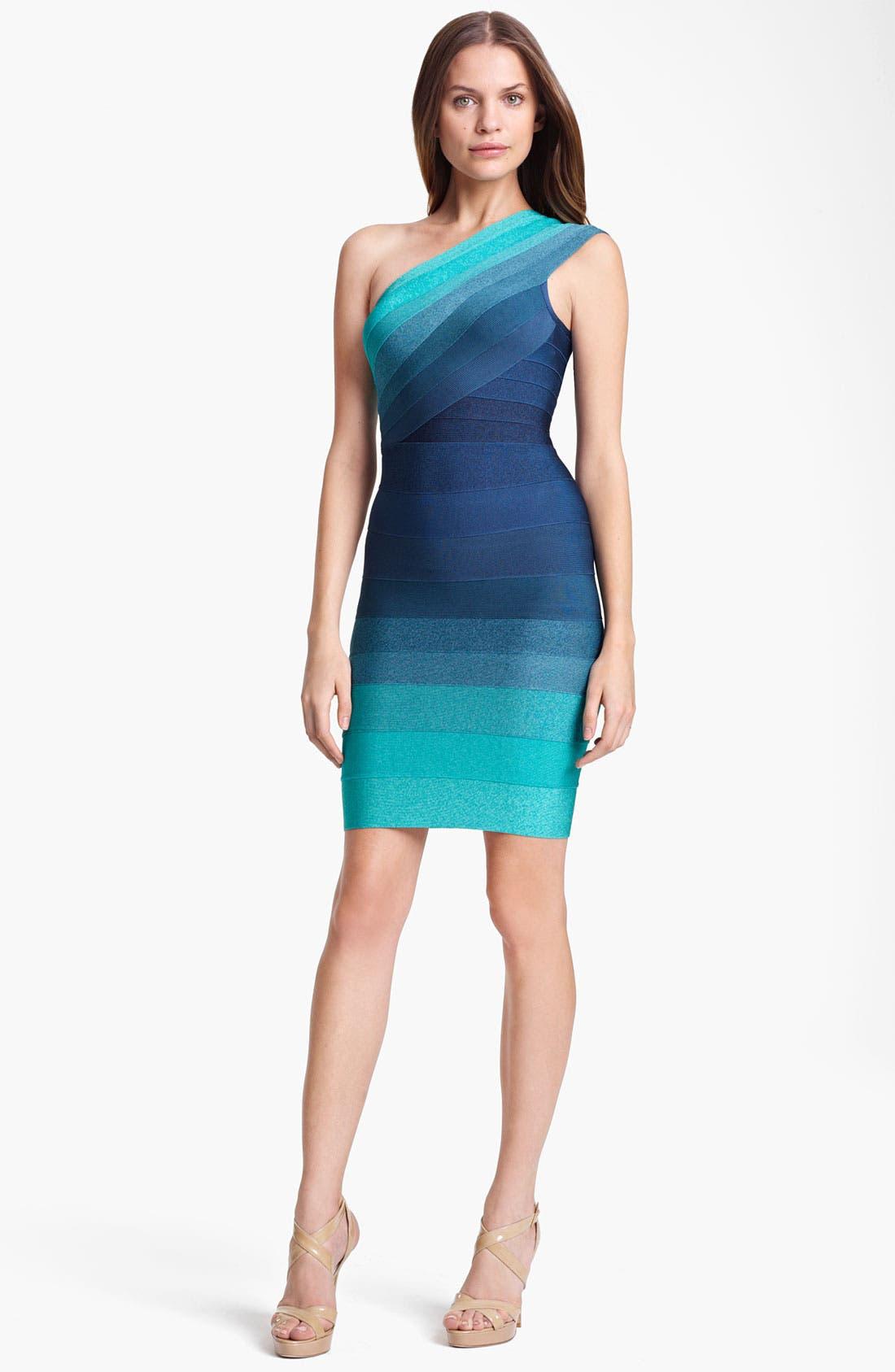Main Image - Herve Leger Ombré One Shoulder Dress