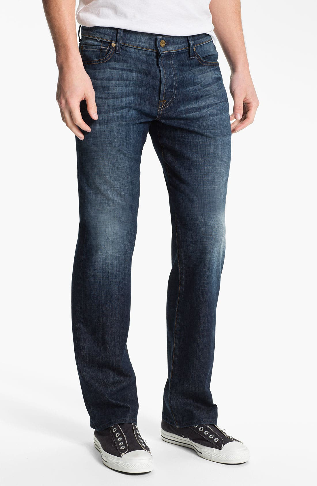 Alternate Image 2  - 7 For All Mankind® 'Standard' Straight Leg Jeans (Worn L.A. Dark)