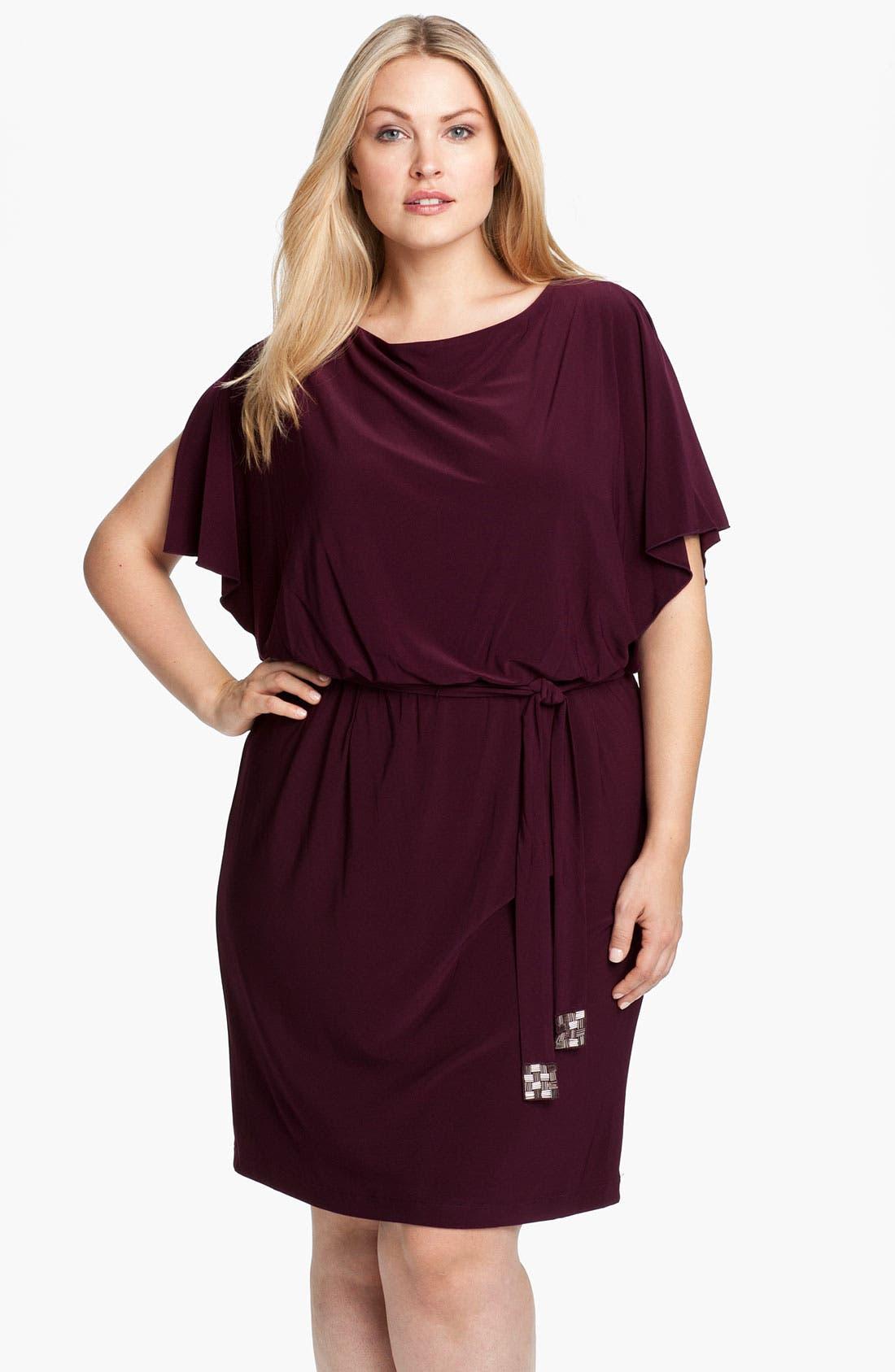 Alternate Image 1 Selected - Eliza J Flutter Sleeve Blouson Dress (Plus)
