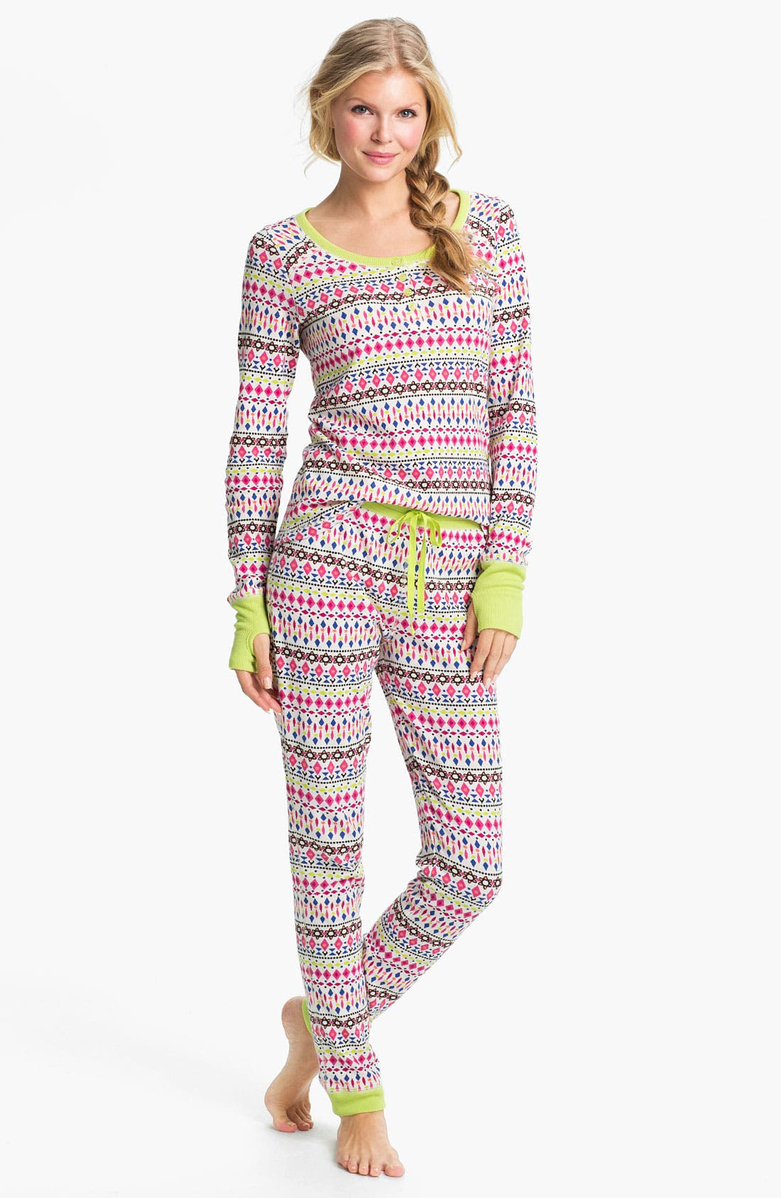 Alternate Image 1 Selected - Steve Madden 'Cozy Up' Print Thermal Pajamas