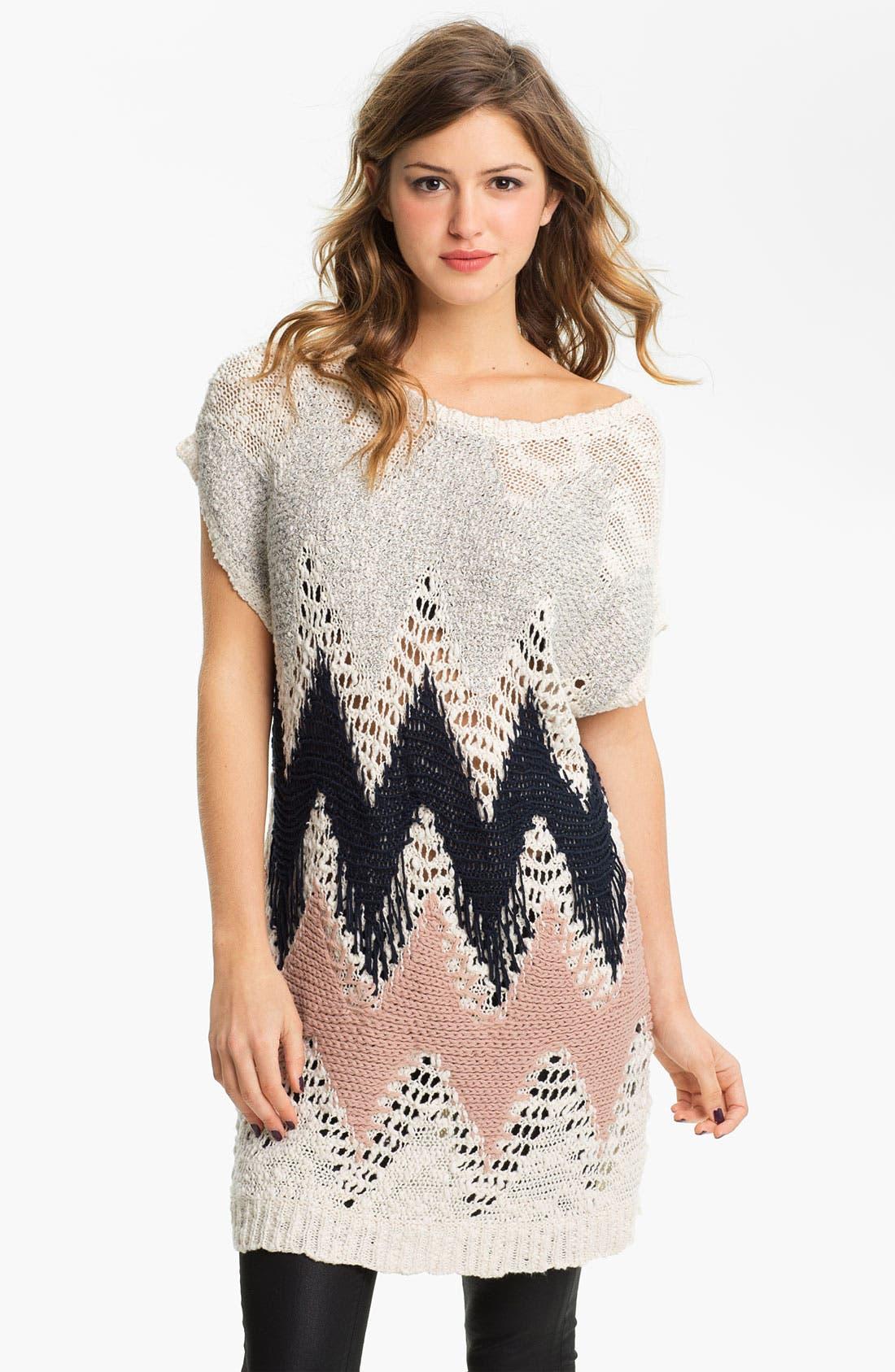 Main Image - Love by Design Zigzag Crochet Tunic Sweater (Juniors)