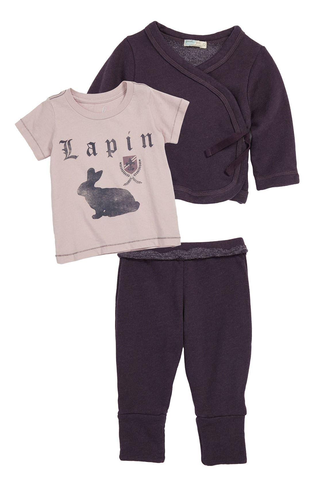 Main Image - Peek Tee, Sweater & Pants (Infant)