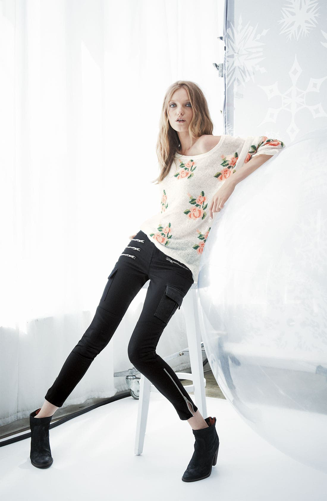 Alternate Image 4  - Wildfox Rose Slouchy Sweater
