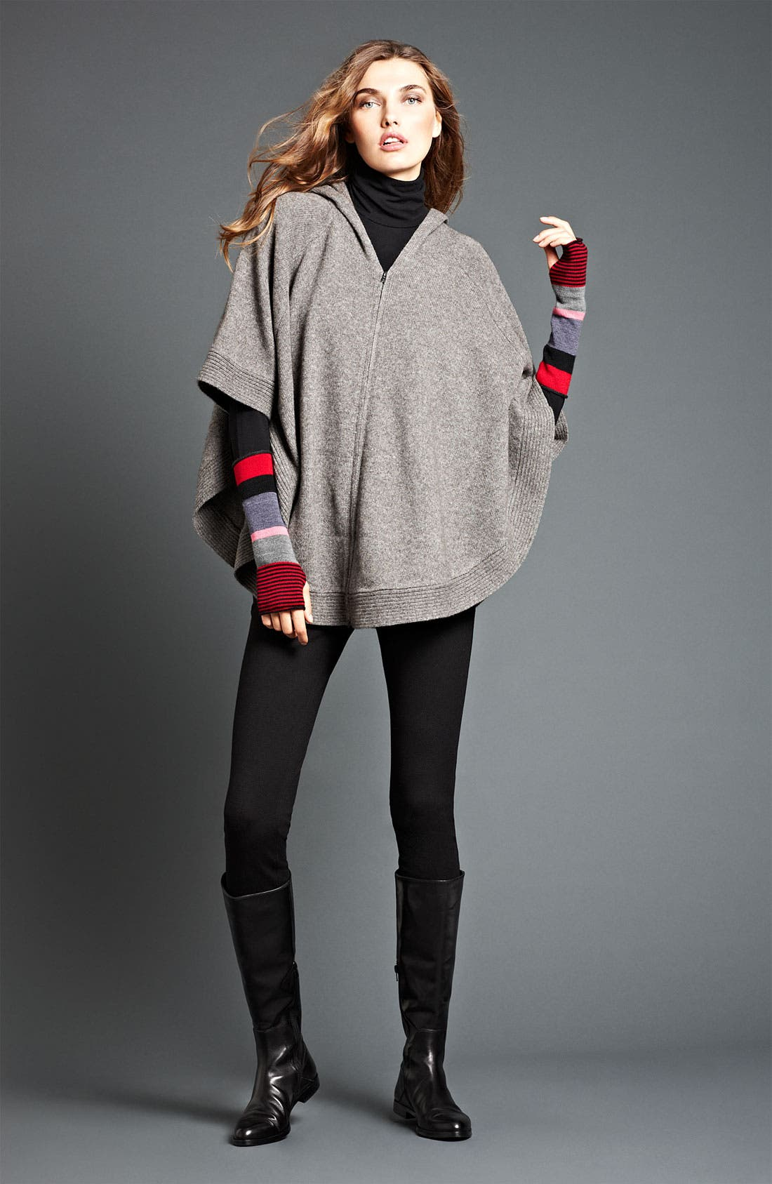 Alternate Image 1 Selected - Eileen Fisher Poncho, Turtleneck & Jeans