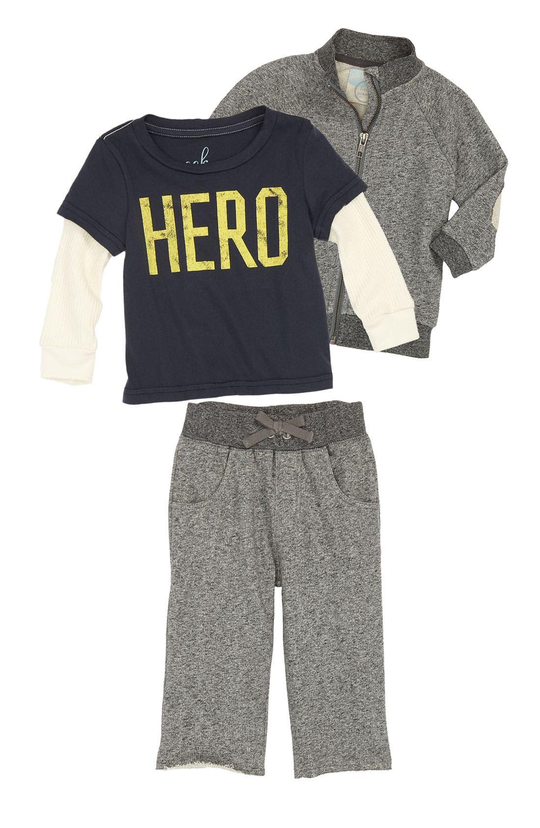 Main Image - Peek Sweater, Tee & Pants (Infant)