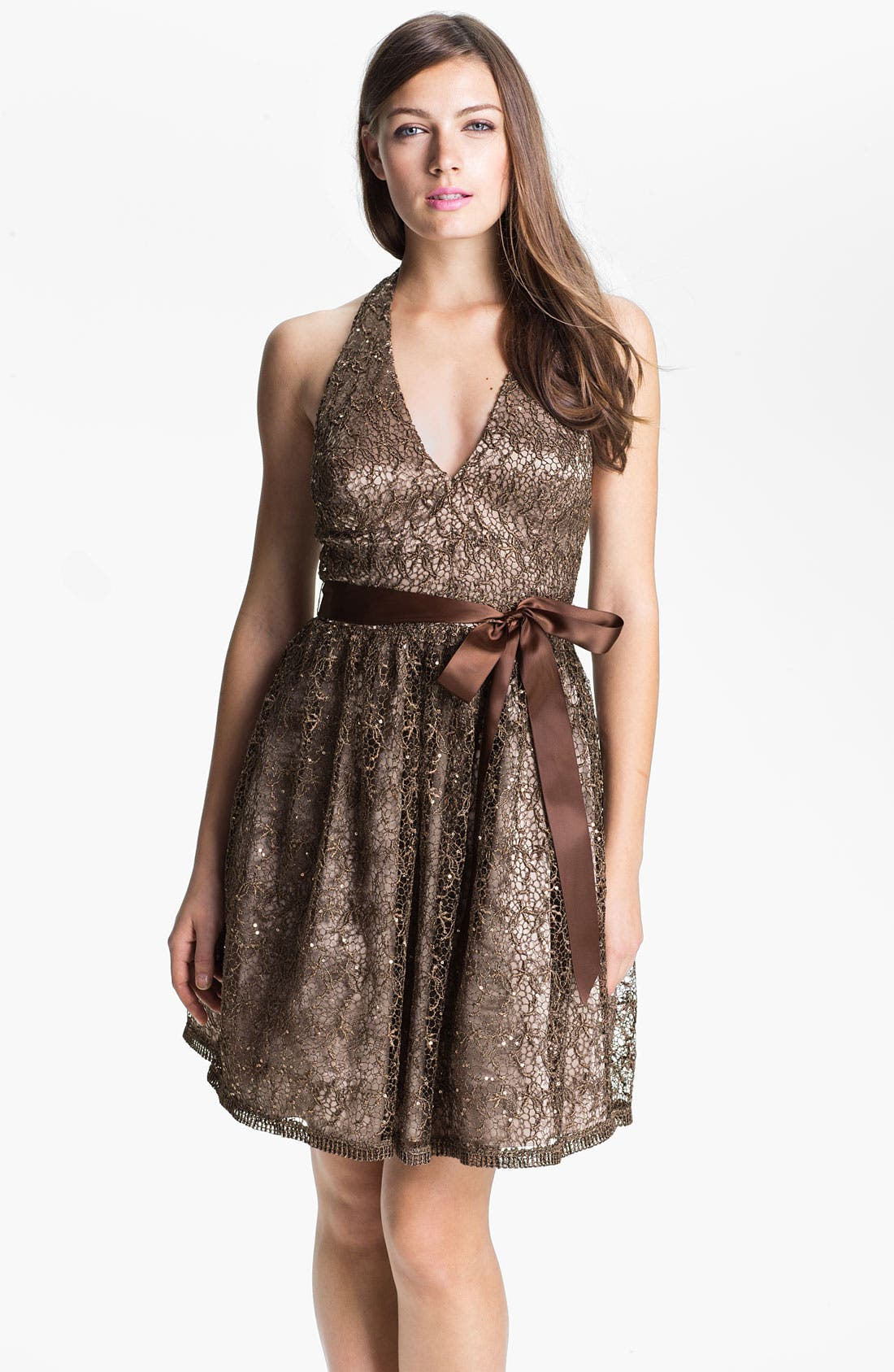 Alternate Image 1 Selected - Adrianna Papell Sequin Lace Halter Dress