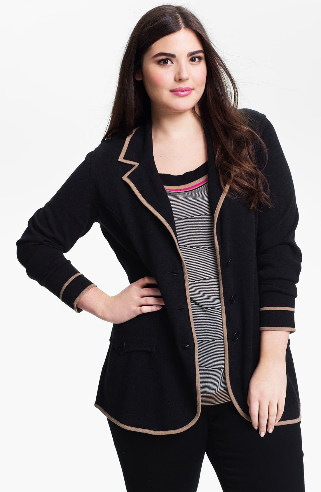 Alternate Image 1 Selected - Nic + Zoe Tipped Knit Jacket (Plus)