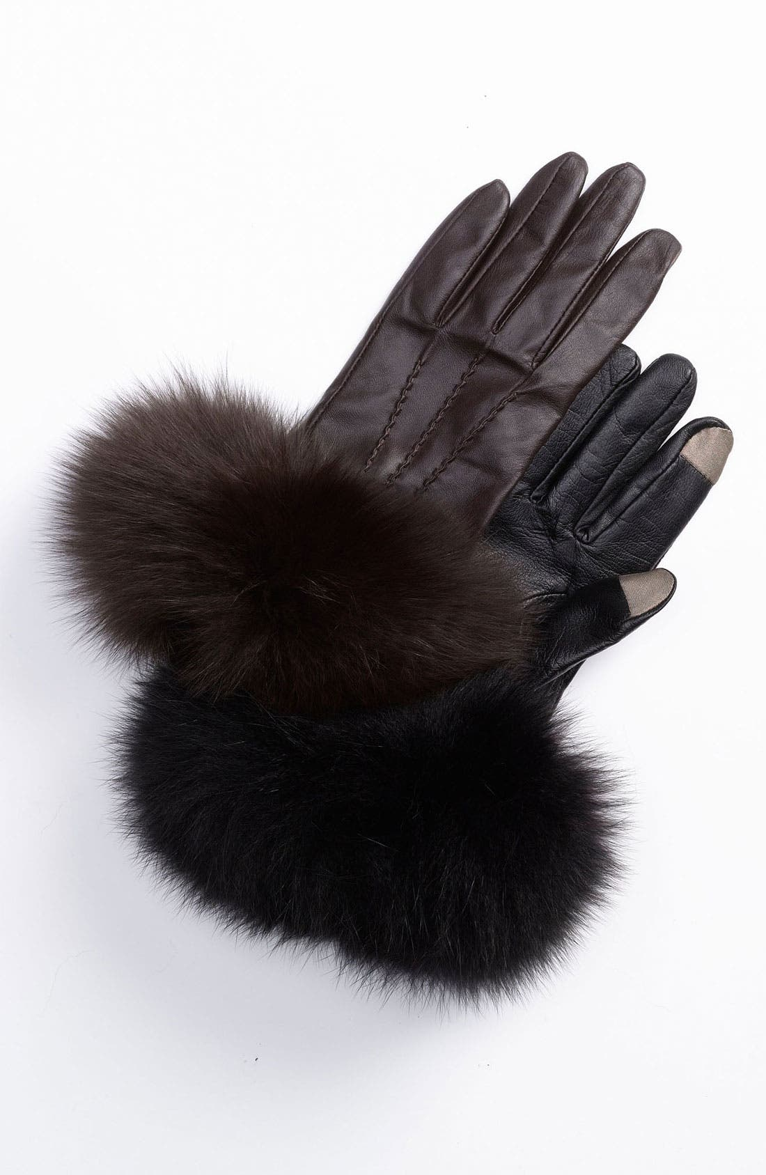 Alternate Image 1 Selected - Dena Products Genuine Fox Fur & Leather Tech Gloves