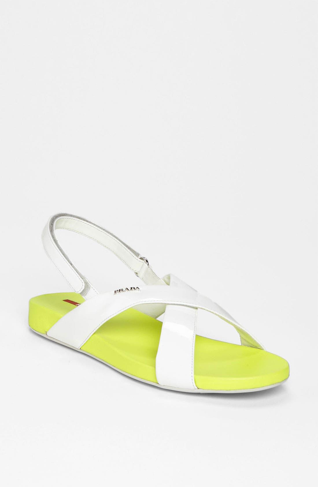 Alternate Image 1 Selected - Prada Crisscross Sandal