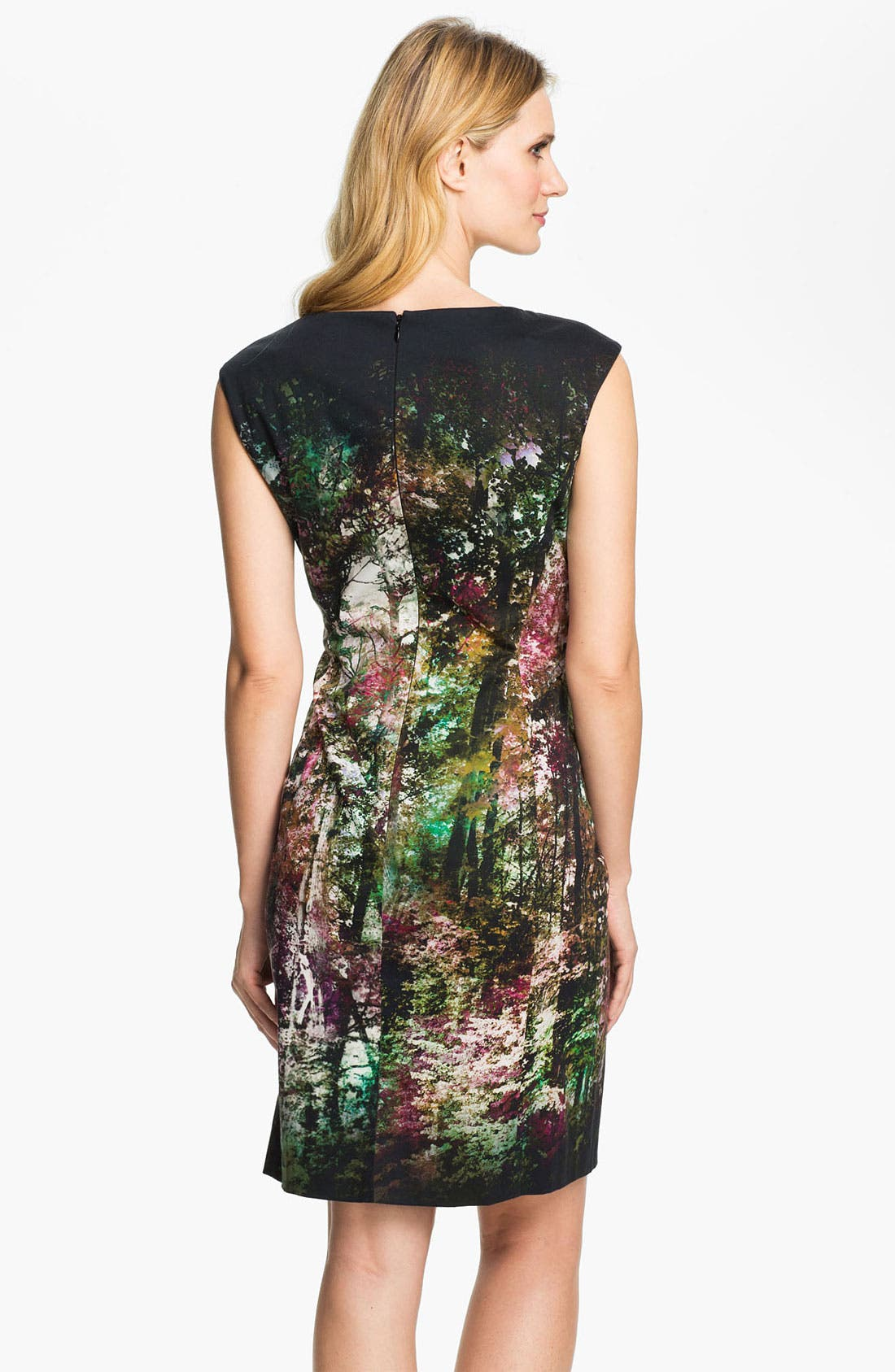 Alternate Image 2  - Kay Unger Abstract Print Cotton Sheath Dress