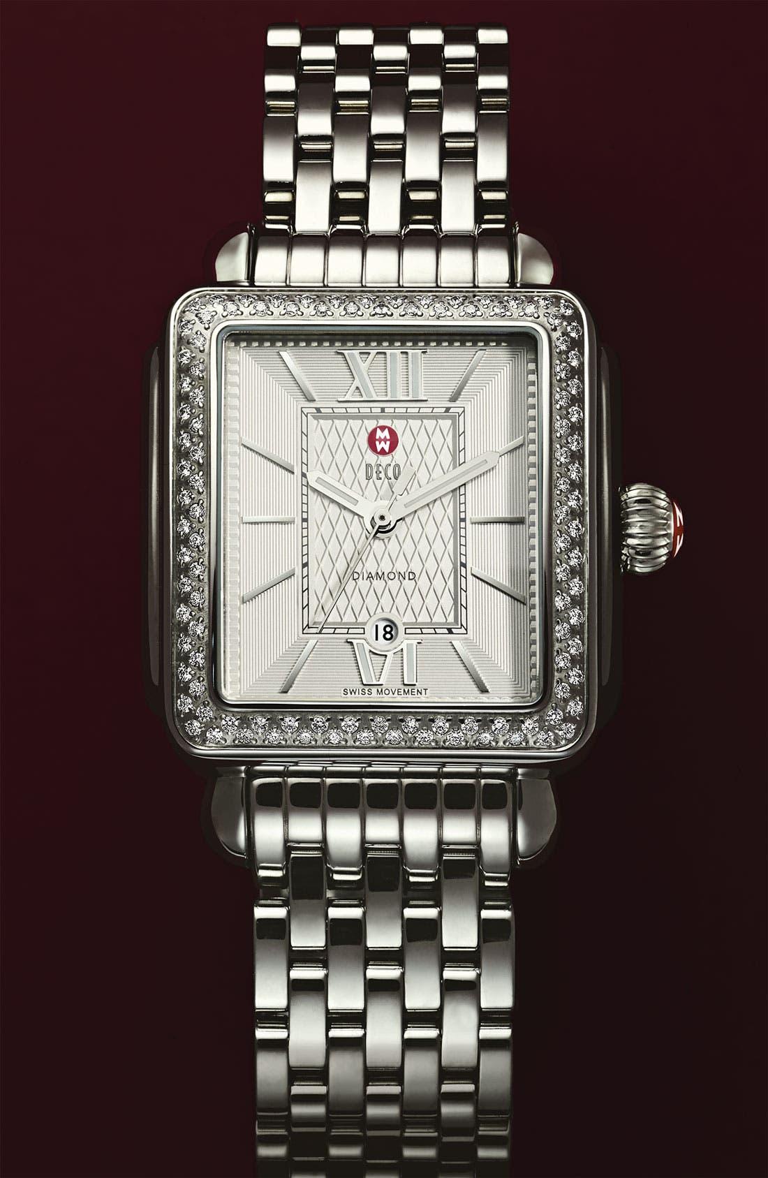 Alternate Image 3  - MICHELE 'Deco Diamond' Guilloche Dial Watch Case, 33mm x 35mm