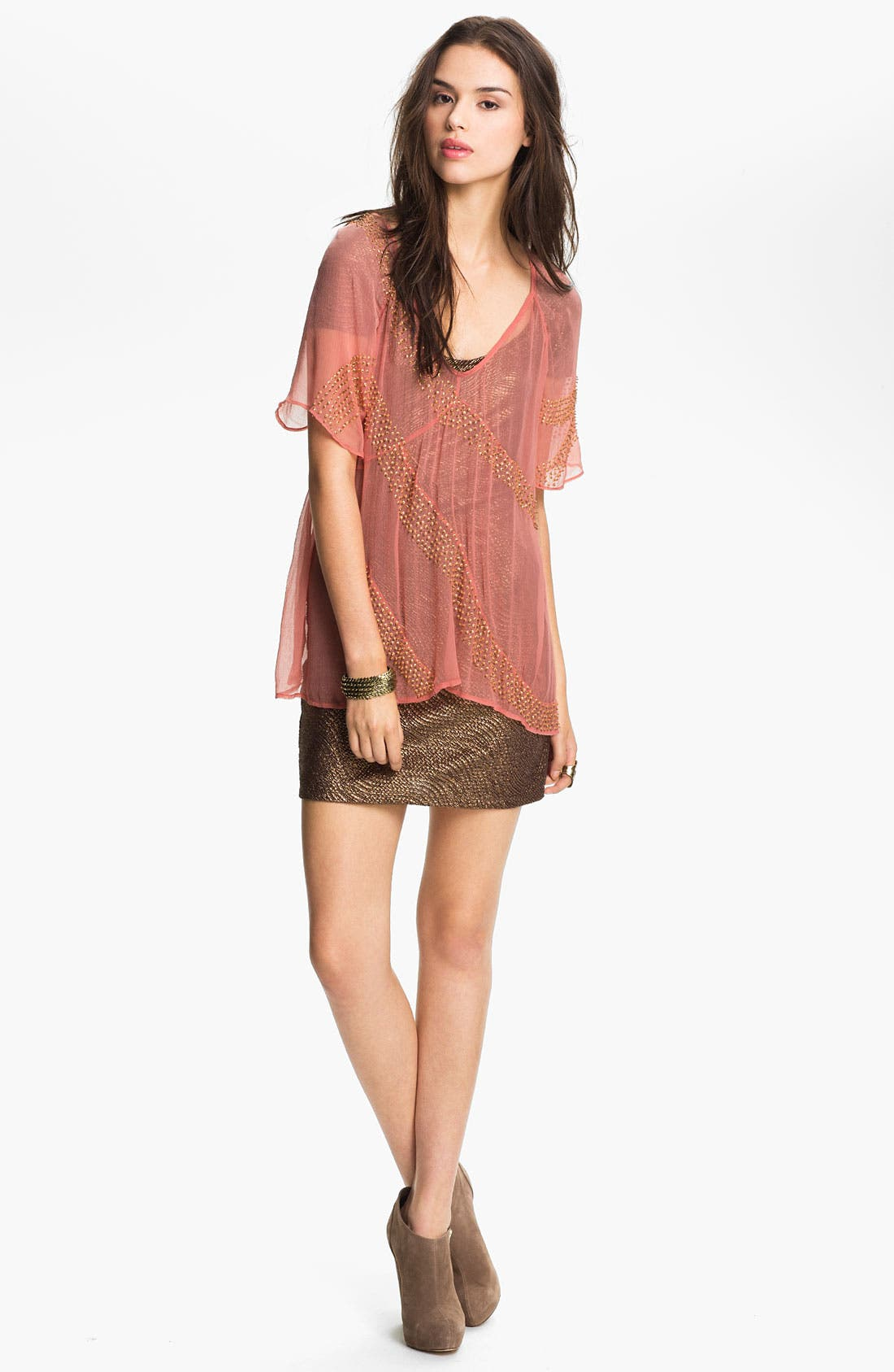 Main Image - Free People 'Moon Dance' Embellished Chiffon Top