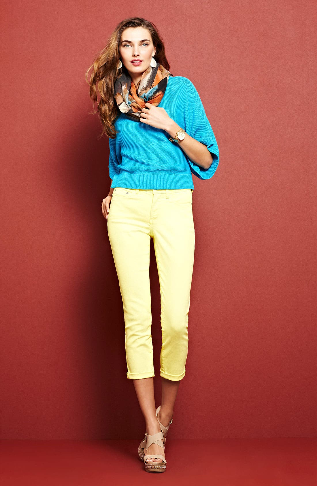 Main Image - Chaus Sweater & NYDJ 'Kendall' Crop Jeans