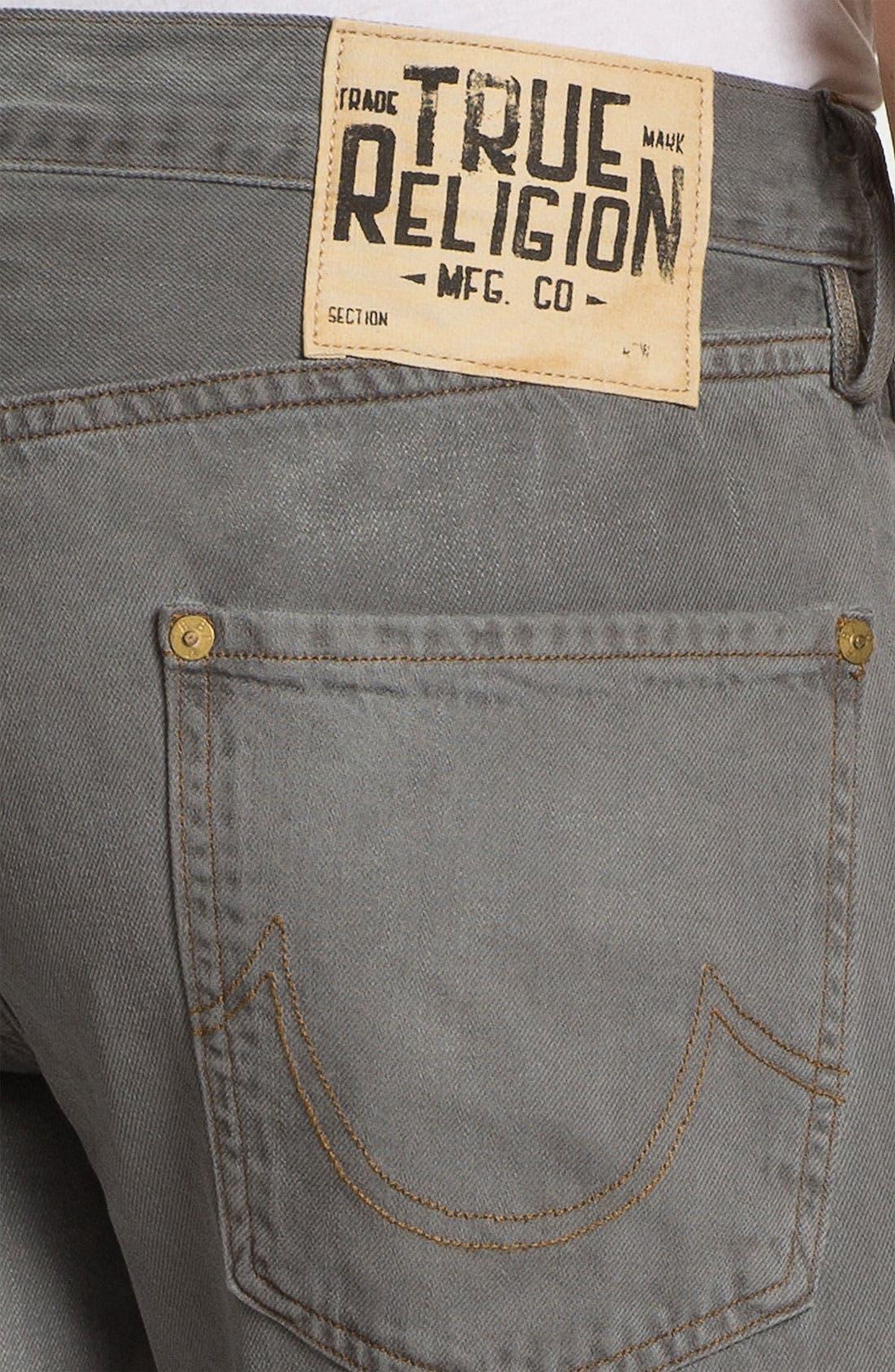 Alternate Image 4  - True Religion Brand Jeans 'Geno Blue Collar Crossroads' Slim Straight Leg Jeans (Smoke Stack)