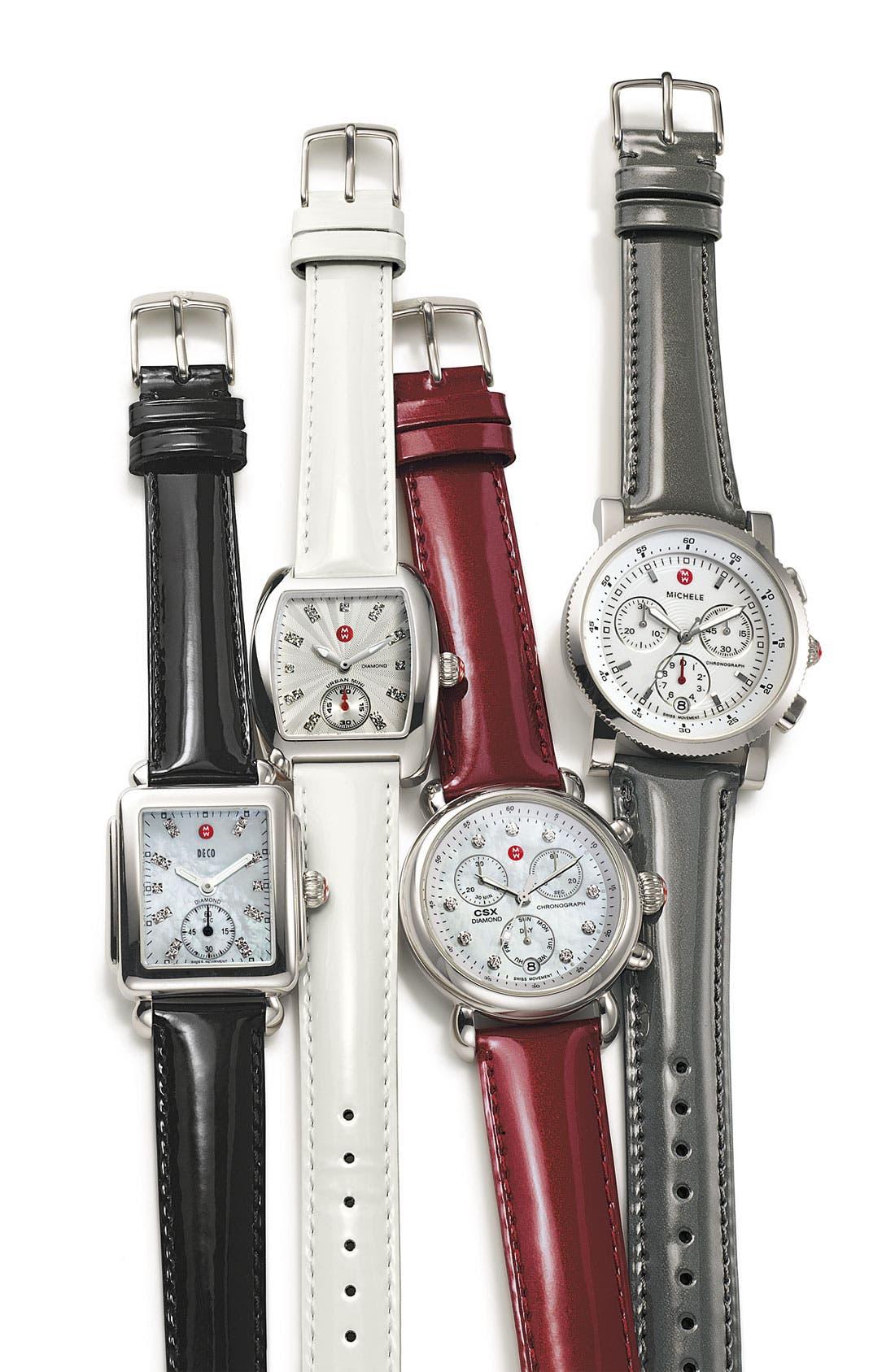 Alternate Image 2  - MICHELE 'Deco 16' Diamond Dial Watch Case & 16mm Black Patent Leather Strap