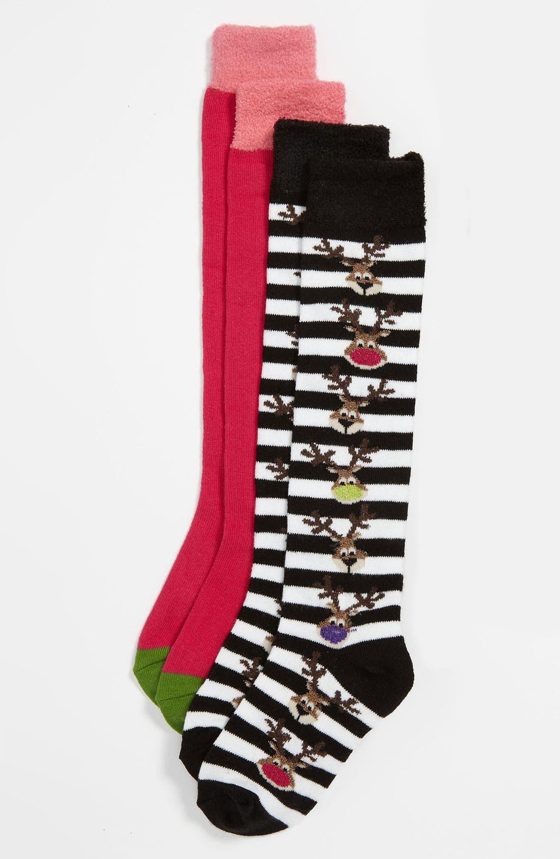 Main Image - Nordstrom 'Silly Reindeer' Knee High Socks (2-Pack) (Walker, Toddler, Little Kid & Big Kid)