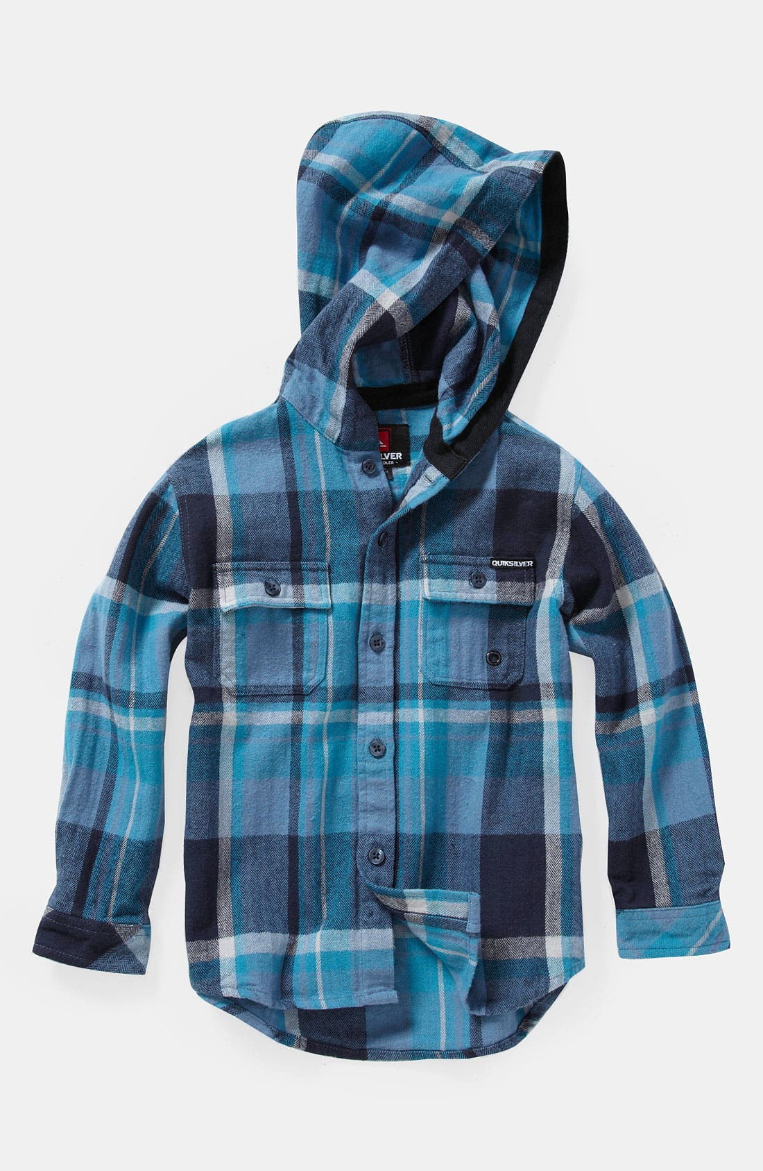 Main Image - Quiksilver 'Four Short' Hooded Flannel Shirt (Toddler)