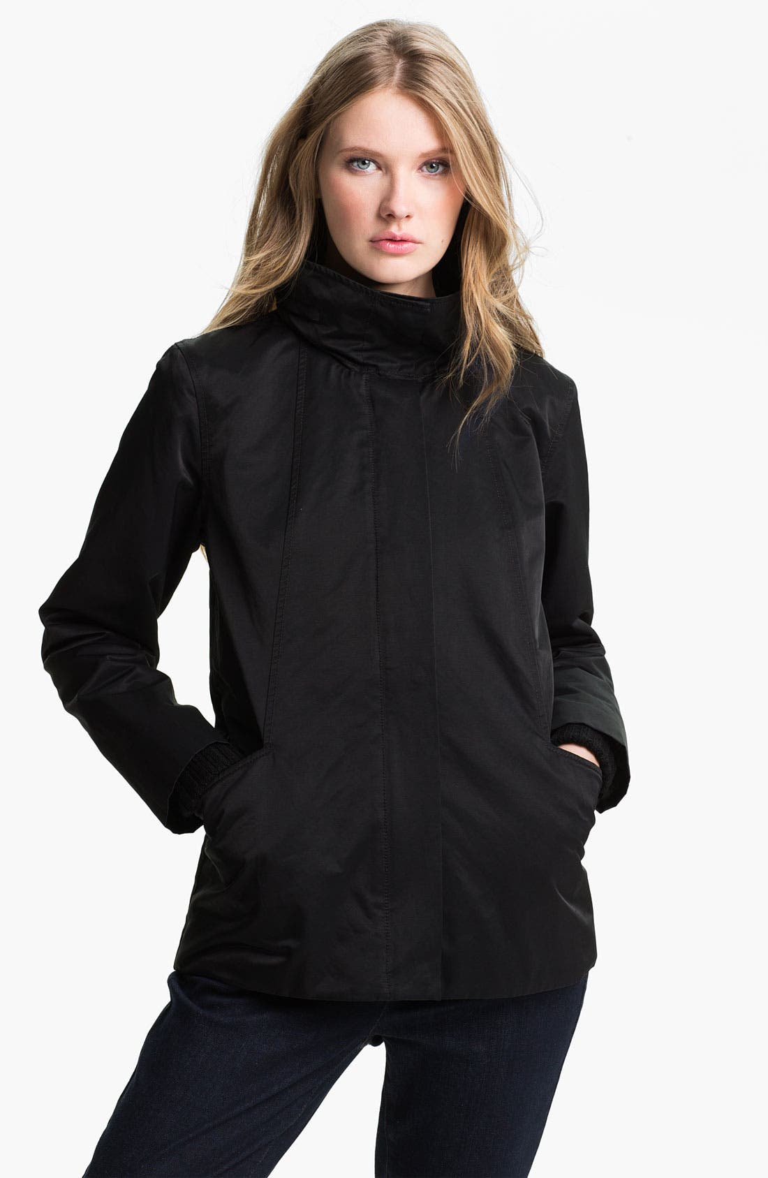Alternate Image 1 Selected - Eileen Fisher Stand Collar A-Line Coat