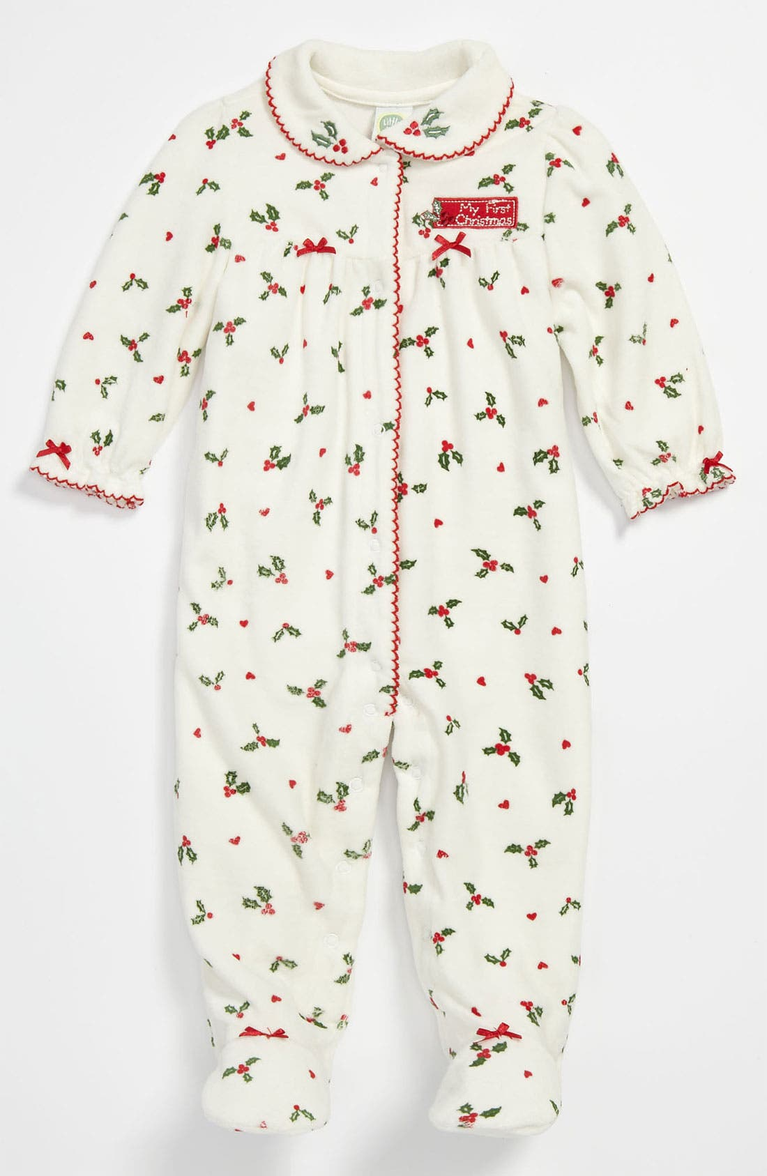Alternate Image 1 Selected - Little Me 'Holiday' Velour Footie (Infant)