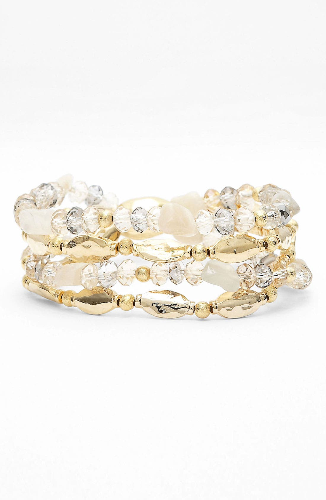 Alternate Image 1 Selected - Nordstrom 'Sand Dollar' Bead Stretch Bracelets (Set of 4)