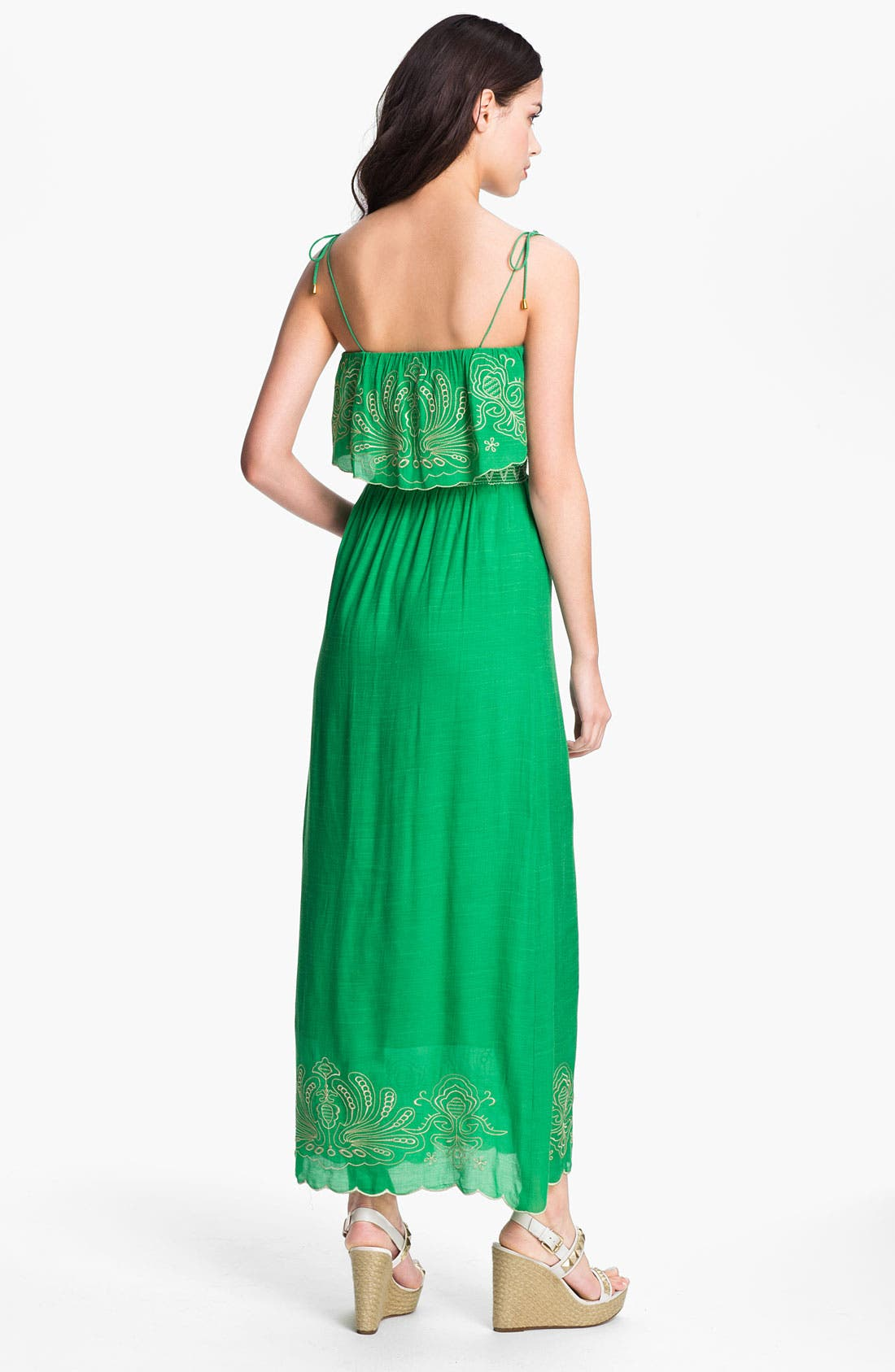 Alternate Image 2  - Tbags Los Angeles Embroidered Trim Ruffle Bodice Maxi Dress