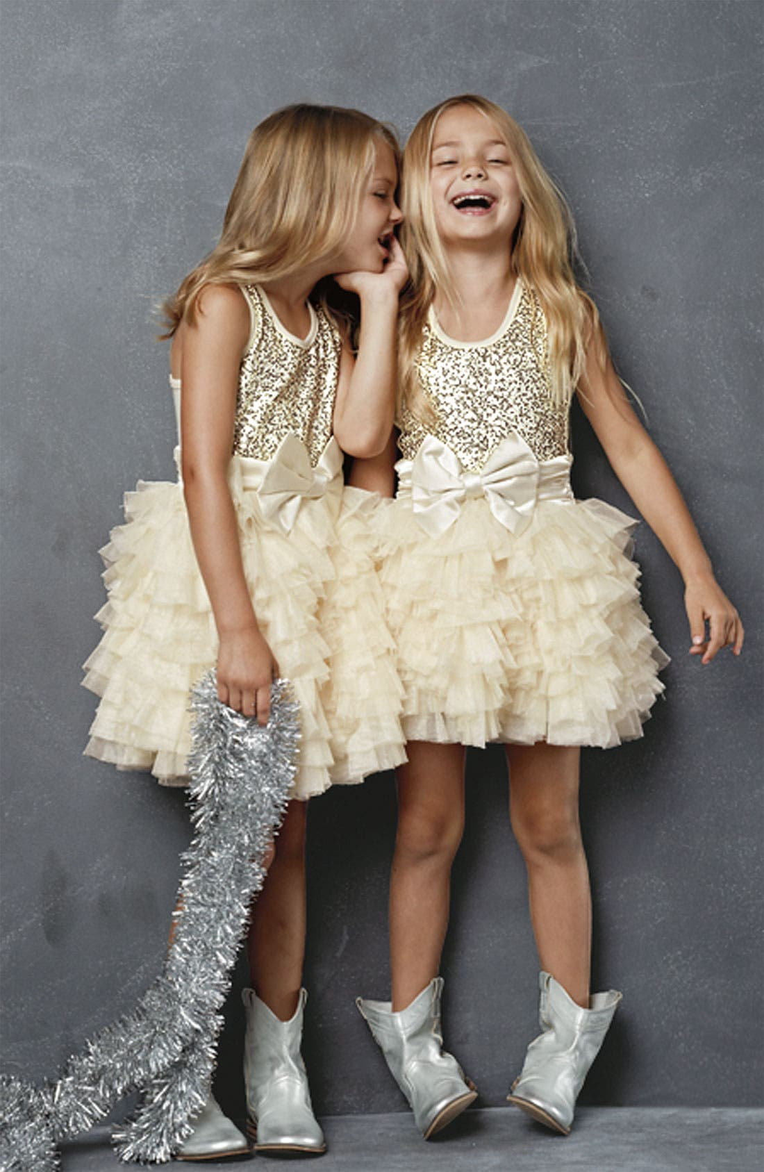 Alternate Image 1 Selected - Ooh! La, La! Couture Dress & Peek Boots (Little Girls & Big Girls)