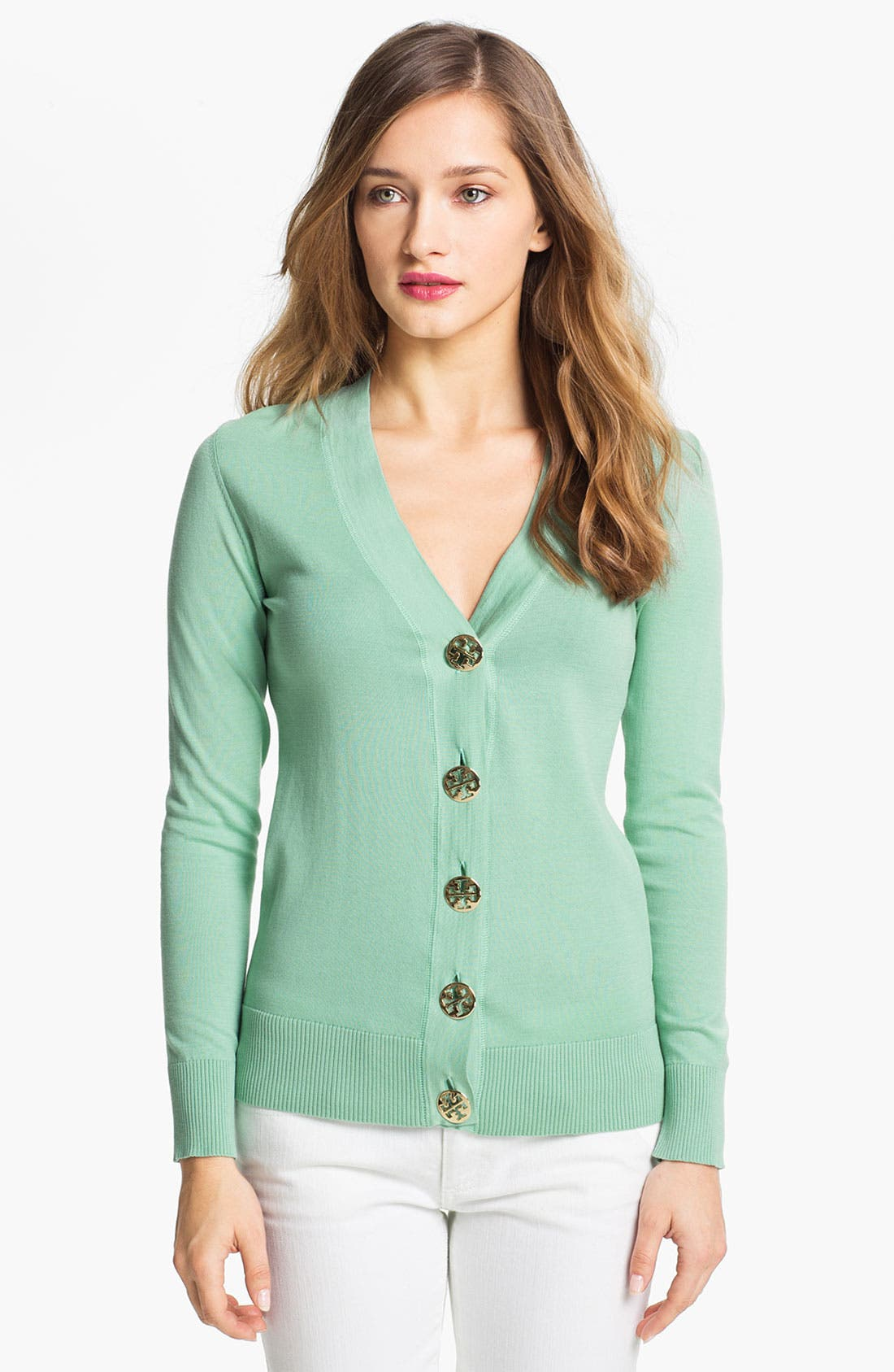 Alternate Image 1 Selected - Tory Burch 'Simone' Signature Button Cardigan