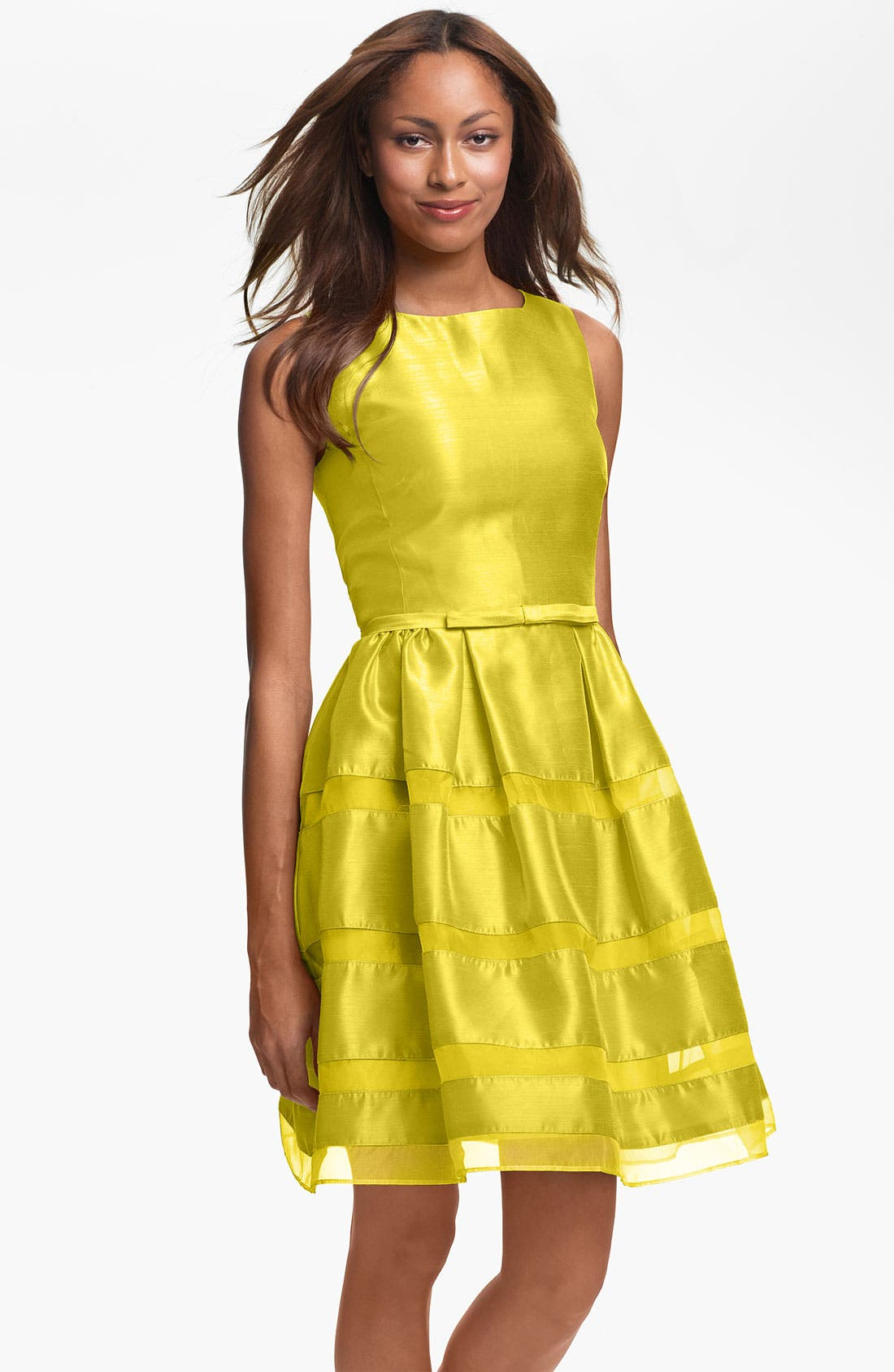Alternate Image 1 Selected - Taylor Dresses Tonal Stripe Fit & Flare Dress