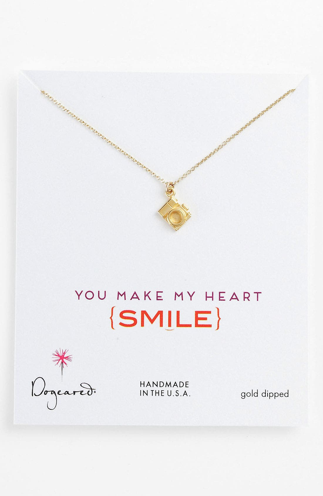 Alternate Image 1 Selected - Dogeared 'Make My Heart Smile' Camera Pendant Necklace