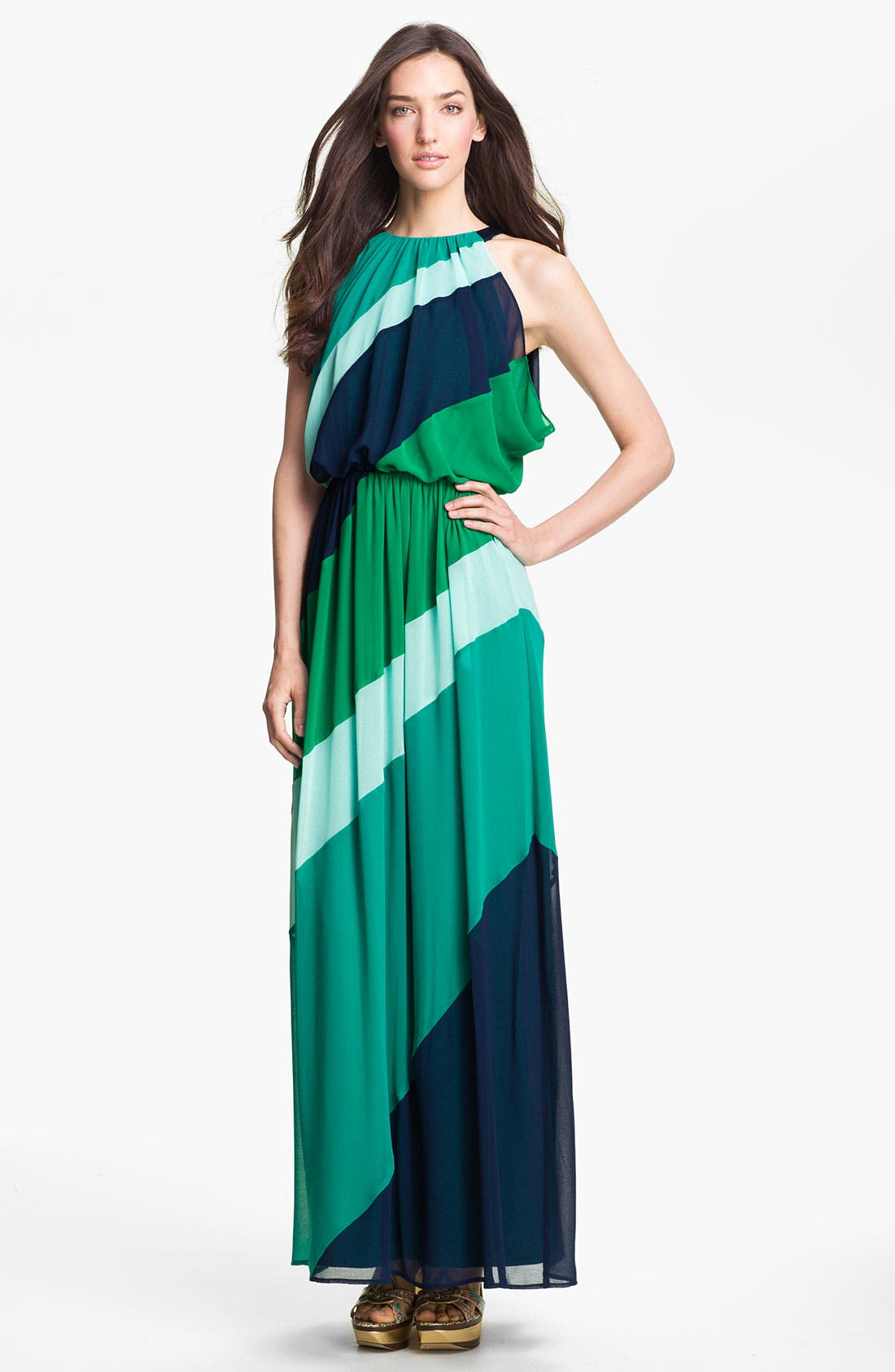 Main Image - Vince Camuto Diagonal Colorblock Chiffon Maxi Dress