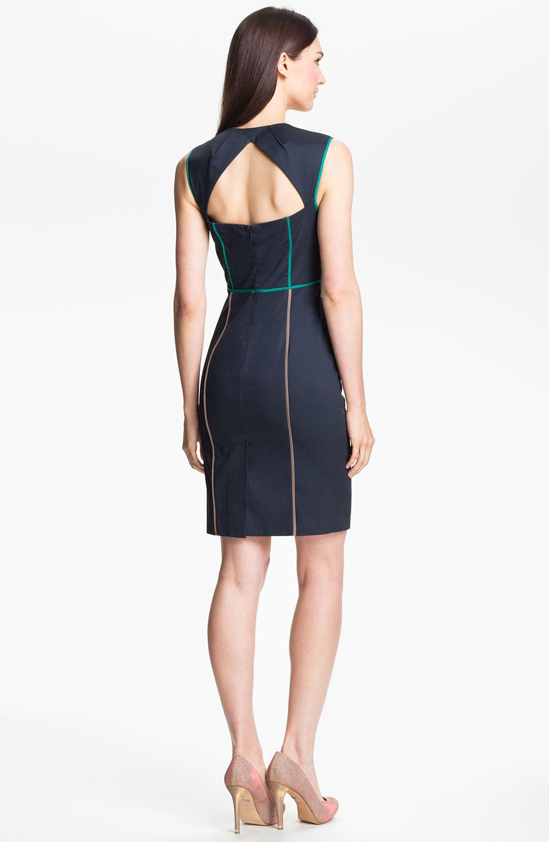 Alternate Image 2  - Jessica Simpson Contrast Piping Cotton Sheath Dress