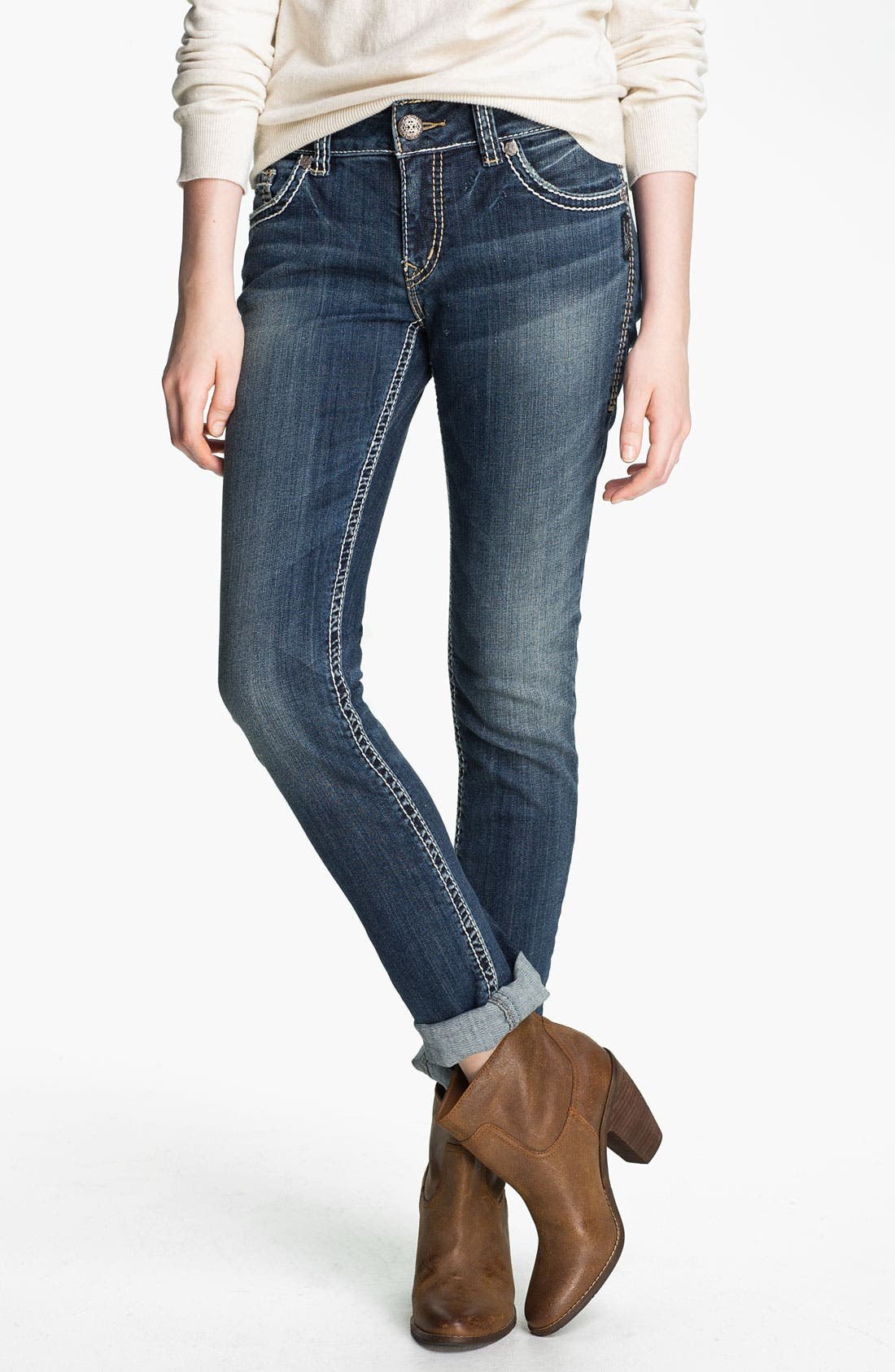 Alternate Image 2  - Silver Jeans Co. 'Suki' Skinny Jeans (Juniors)