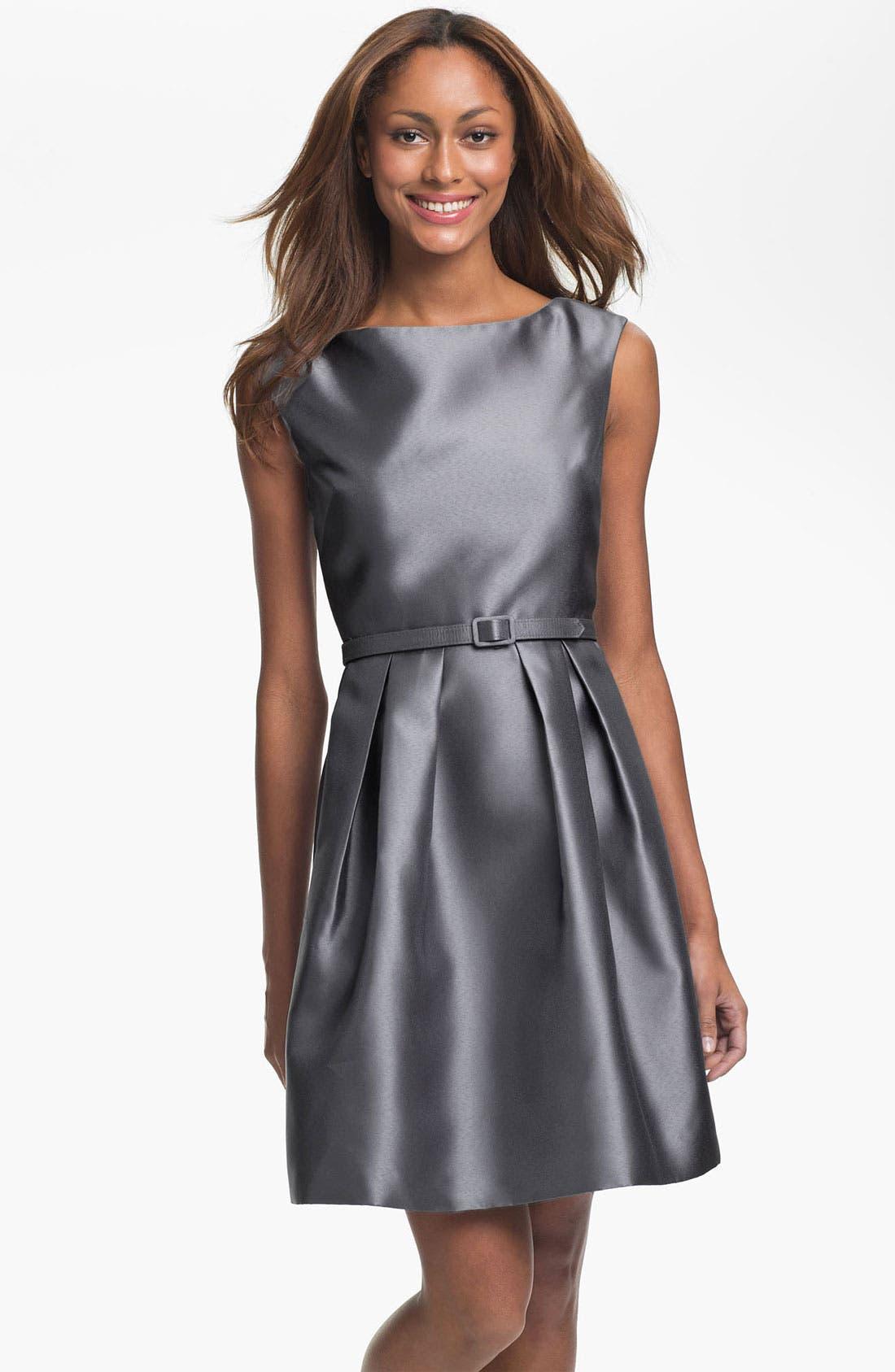 Alternate Image 1 Selected - Eliza J V-Back Faille Fit & Flare Dress