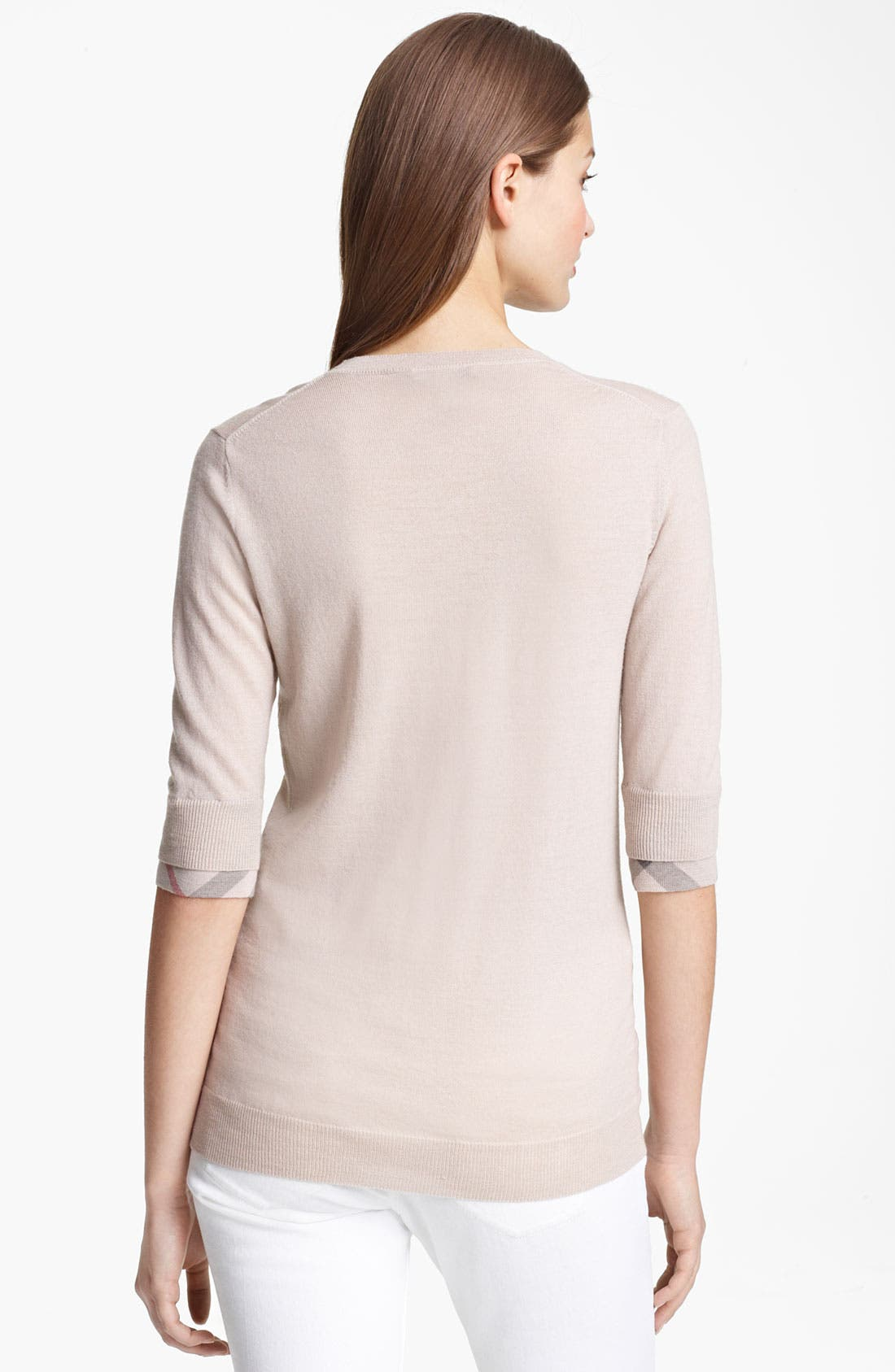 Alternate Image 2  - Burberry Brit Check Cuff Merino Sweater